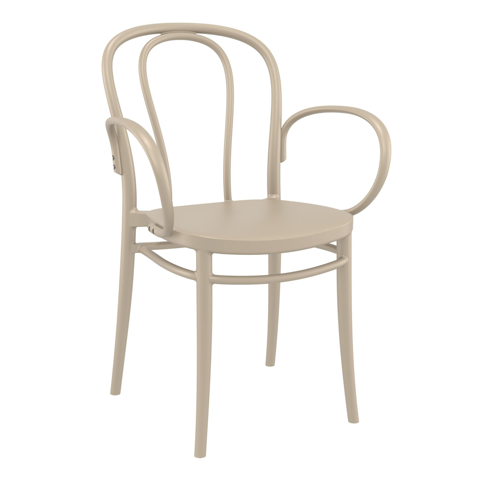 restaurant seating polypropylene victor armchair taupe front side