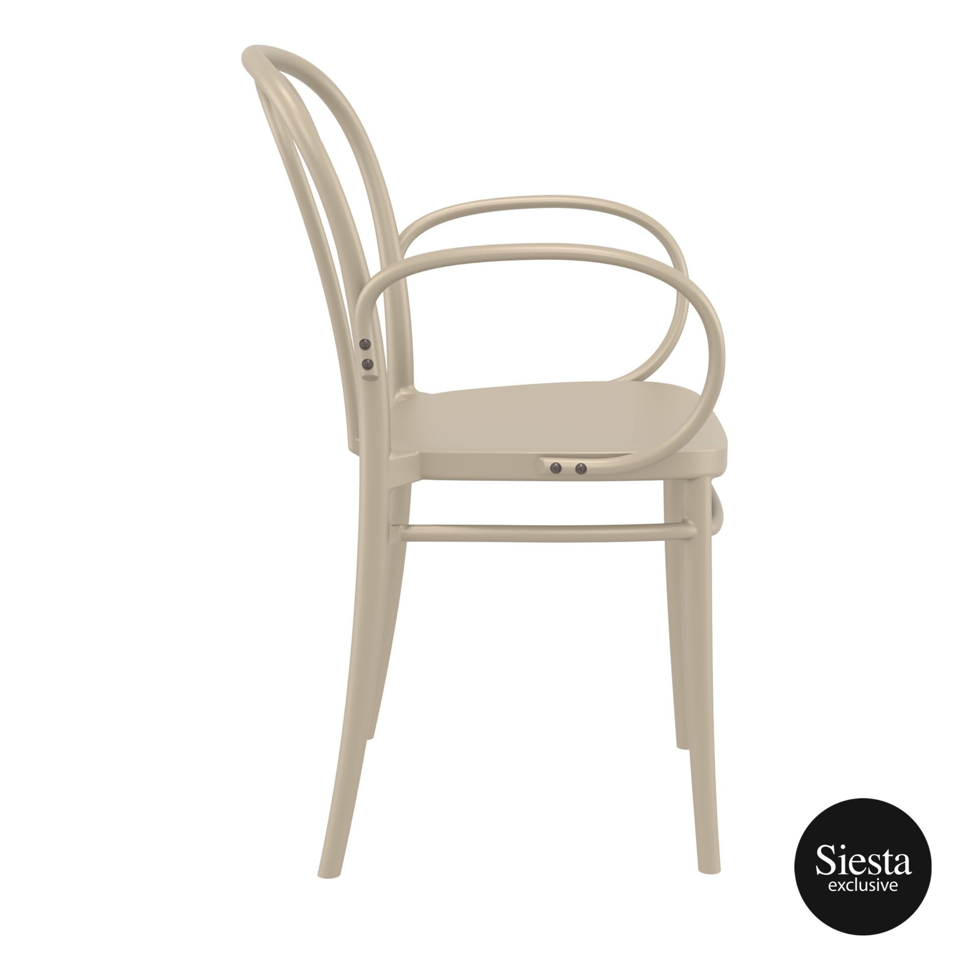 restaurant seating polypropylene victor armchair taupe side 1