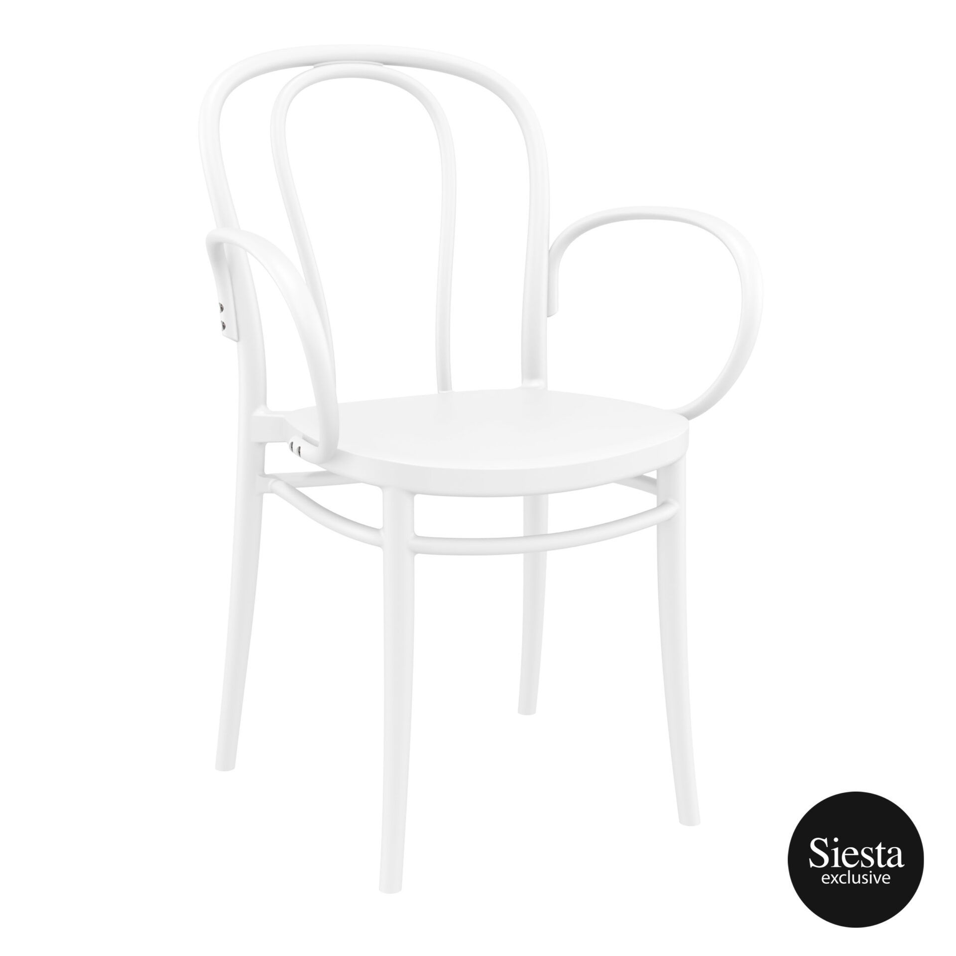 restaurant seating polypropylene victor armchair white front side 2