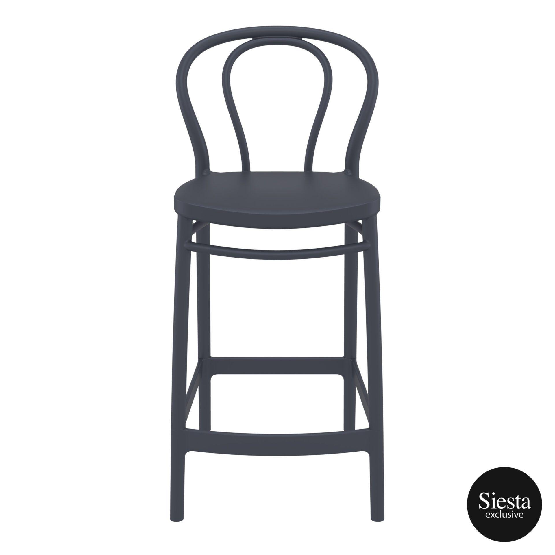 restaurant seating polypropylene victor barstool 65 darkgrey front 2