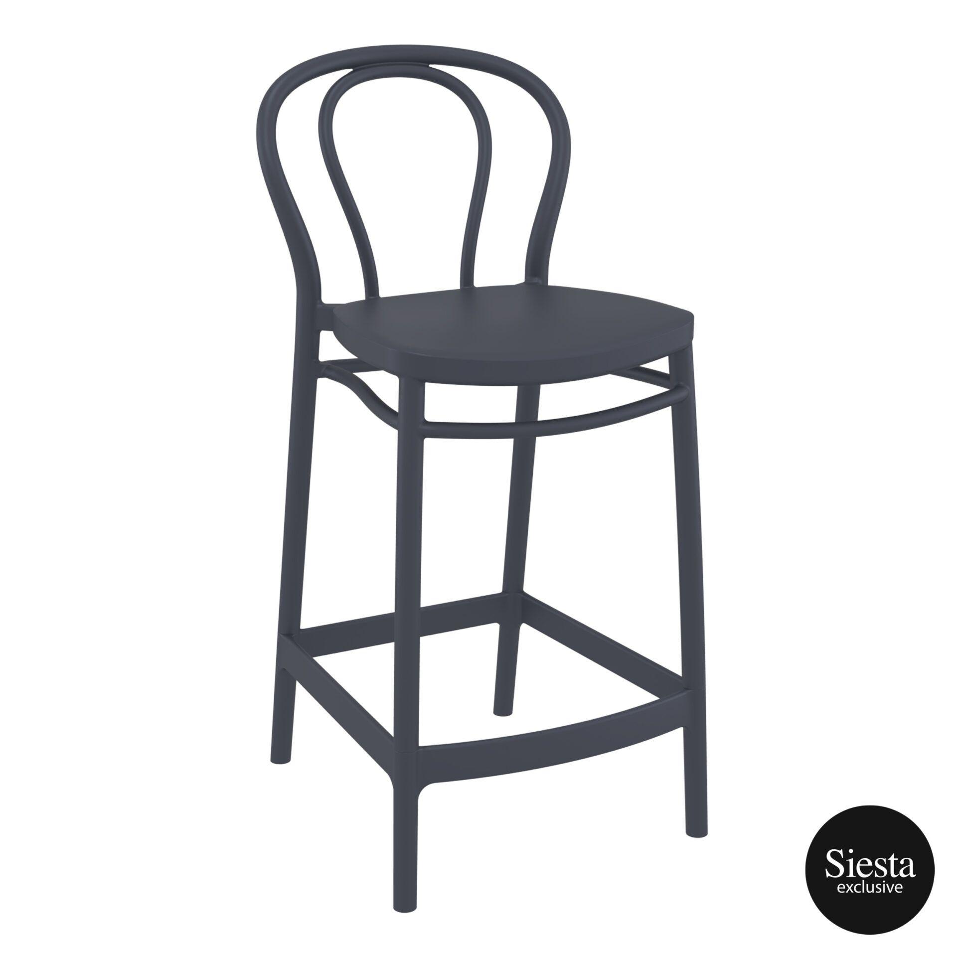restaurant seating polypropylene victor barstool 65 darkgrey front side 2
