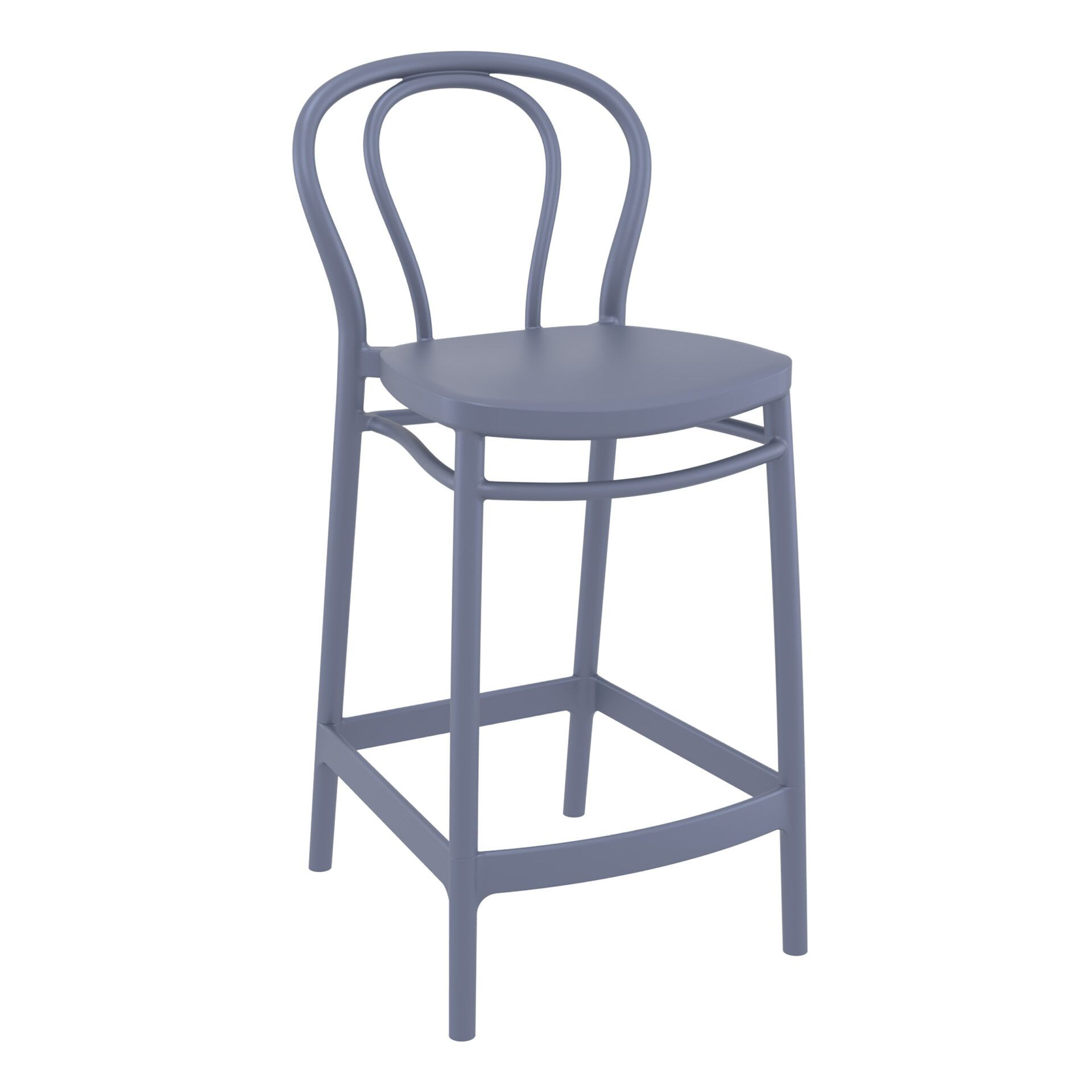 restaurant seating polypropylene victor barstool 65 darkgrey front side