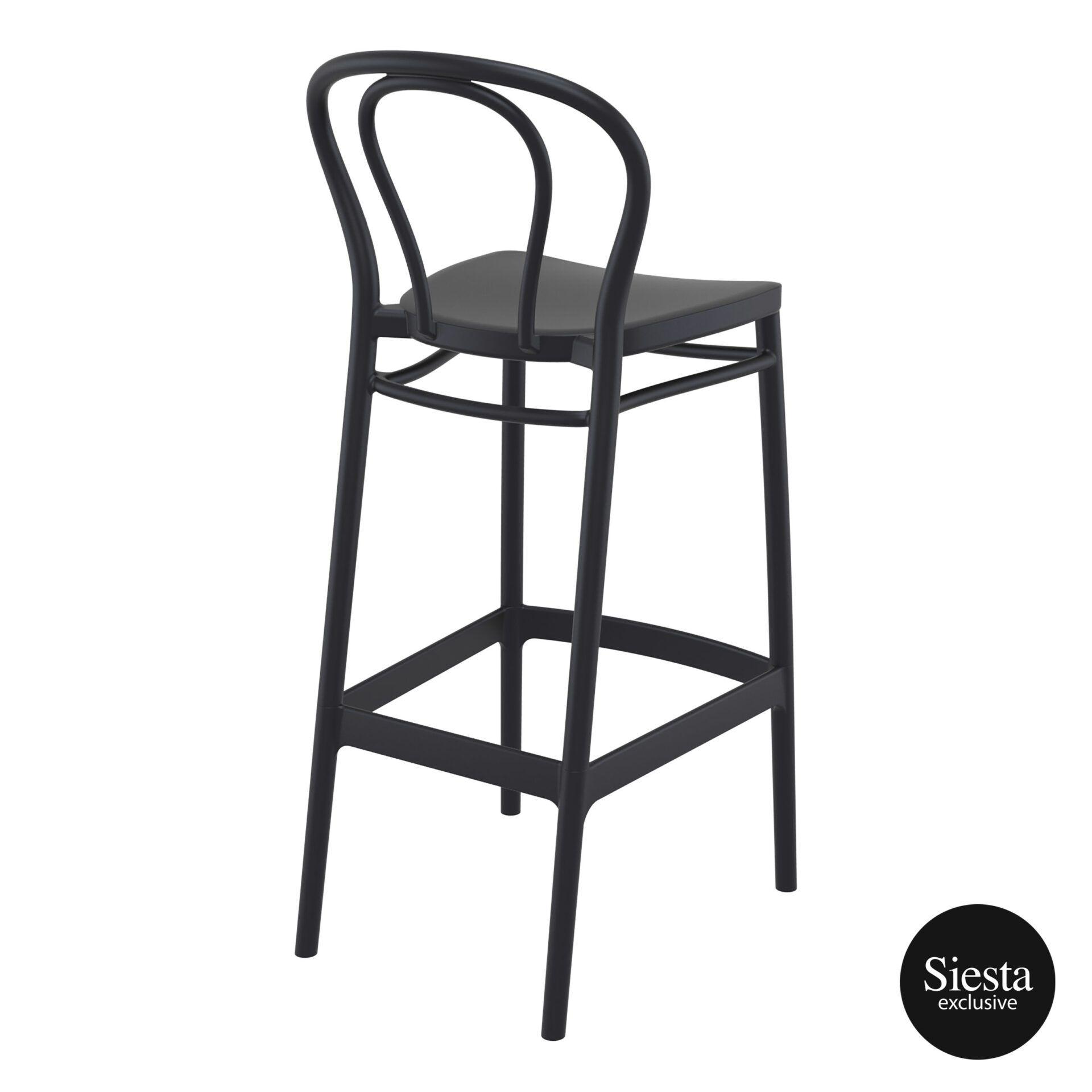 restaurant seating polypropylene victor barstool 75 black back side 1