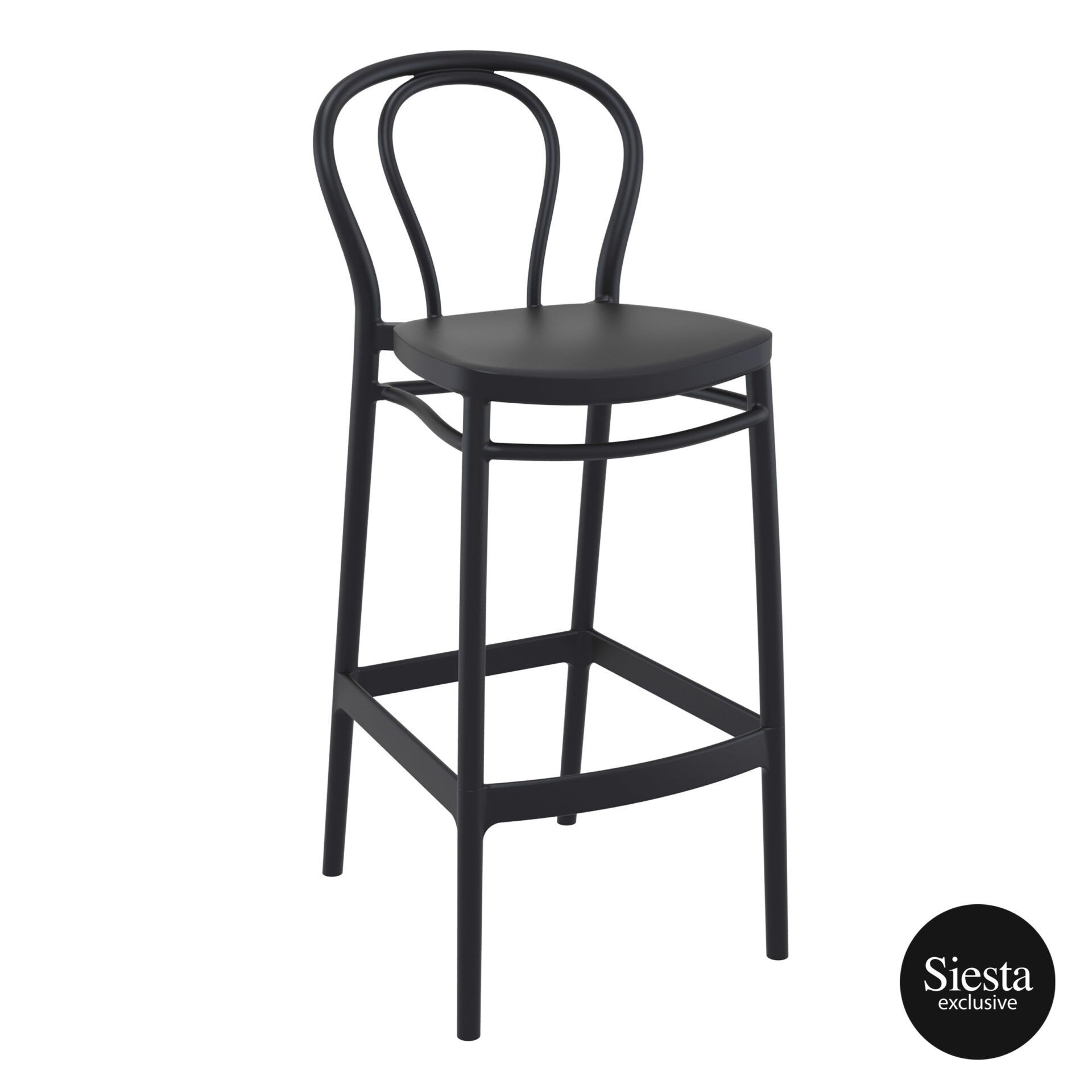 restaurant seating polypropylene victor barstool 75 black front side 1