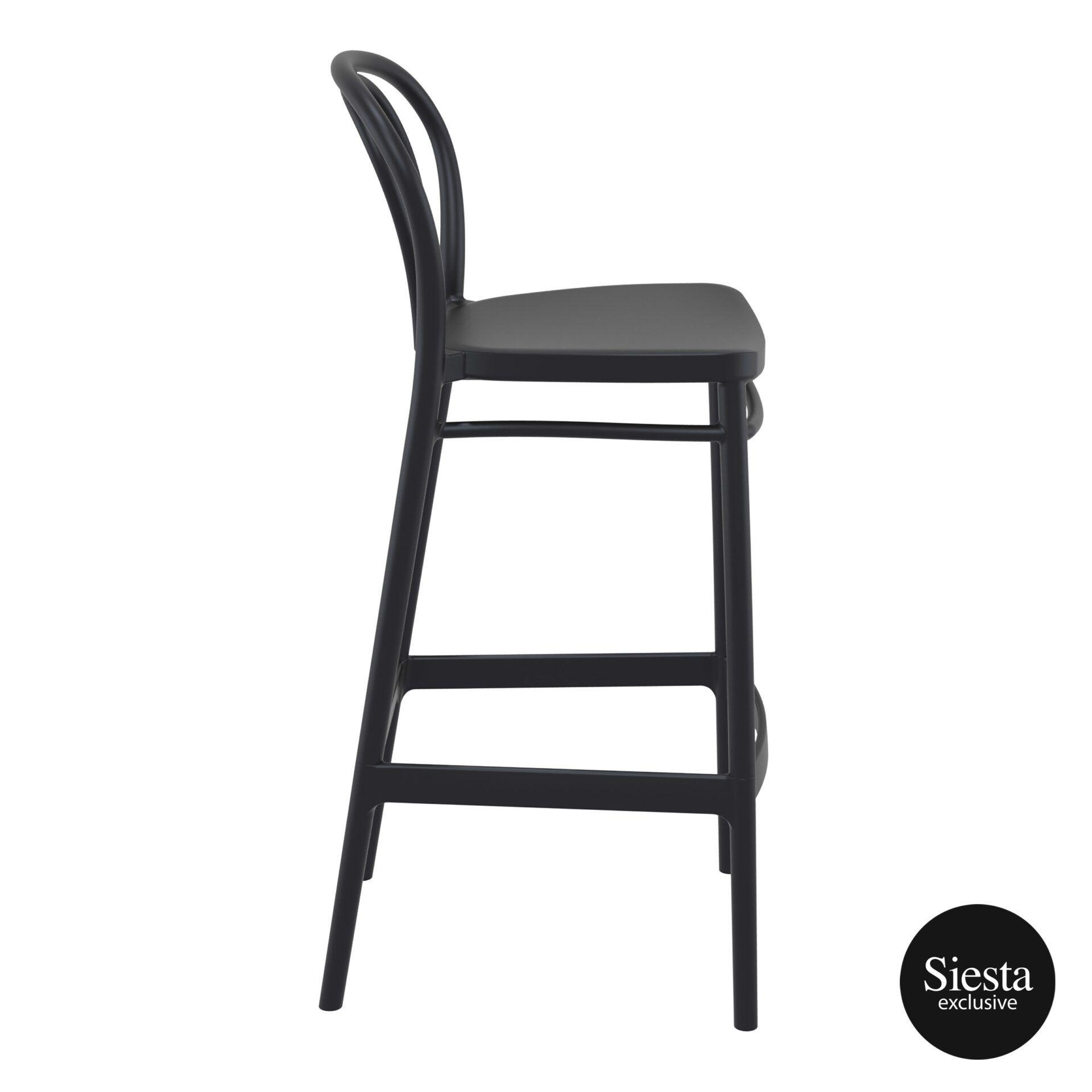 restaurant seating polypropylene victor barstool 75 black side 1