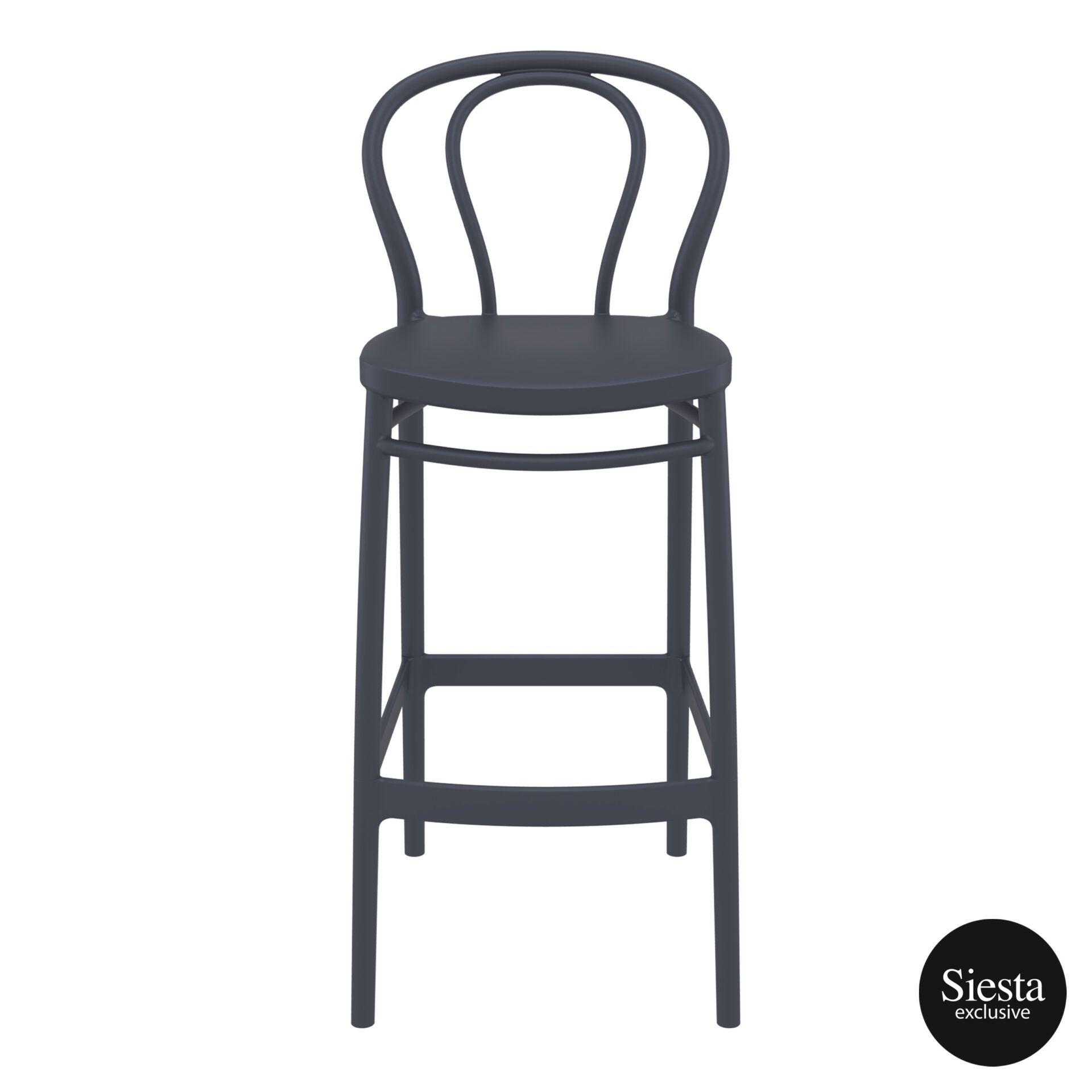restaurant seating polypropylene victor barstool 75 darkgrey front 2