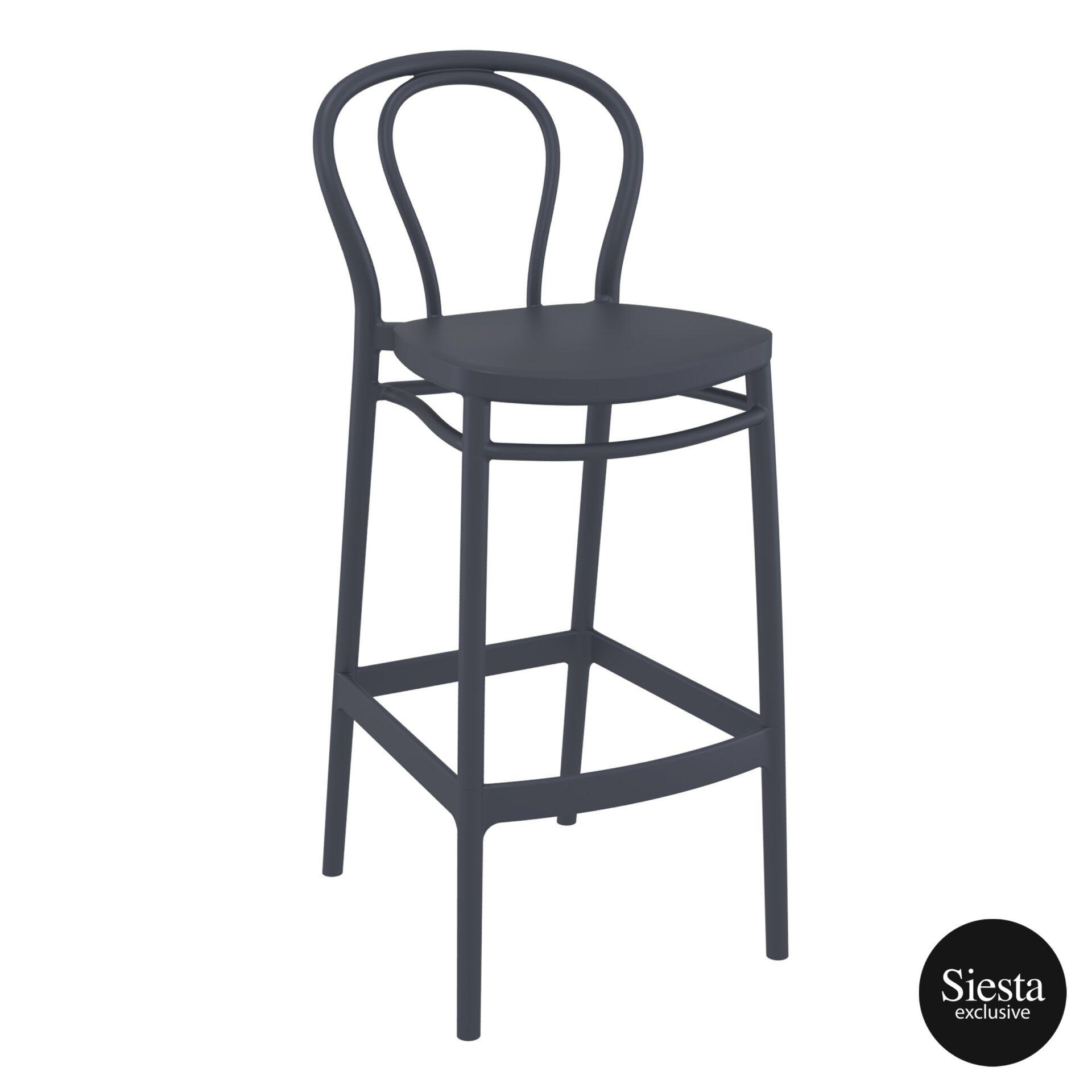 restaurant seating polypropylene victor barstool 75 darkgrey front side 2