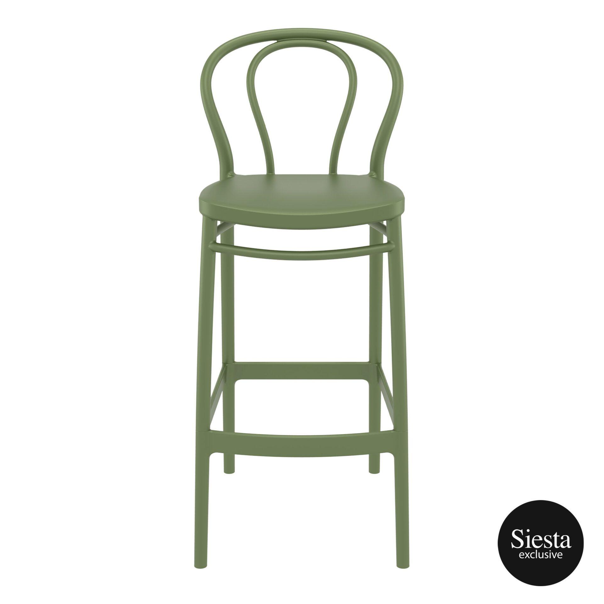 restaurant seating polypropylene victor barstool 75 olive green front 1