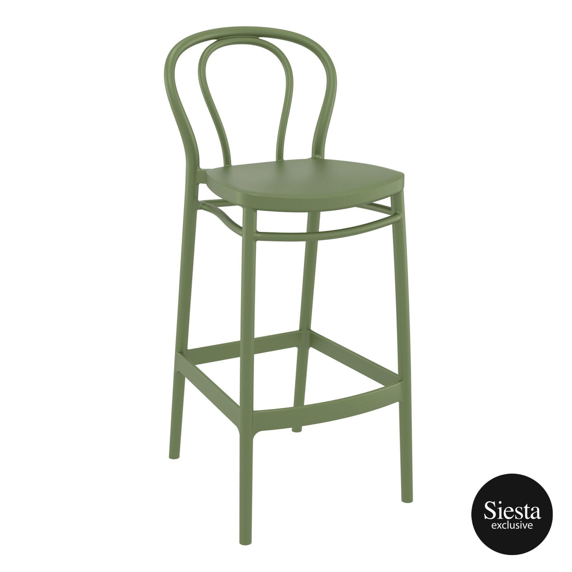 restaurant seating polypropylene victor barstool 75 olive green front side 1