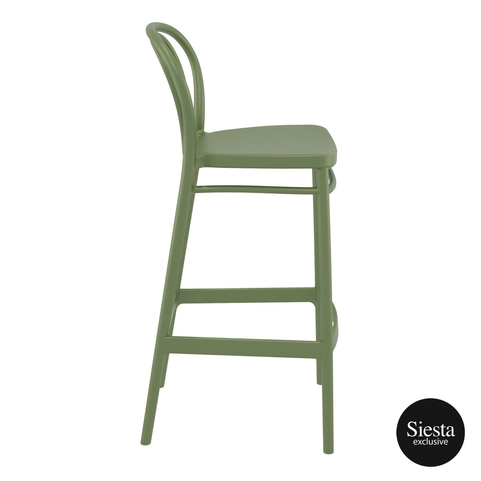 restaurant seating polypropylene victor barstool 75 olive green side 1
