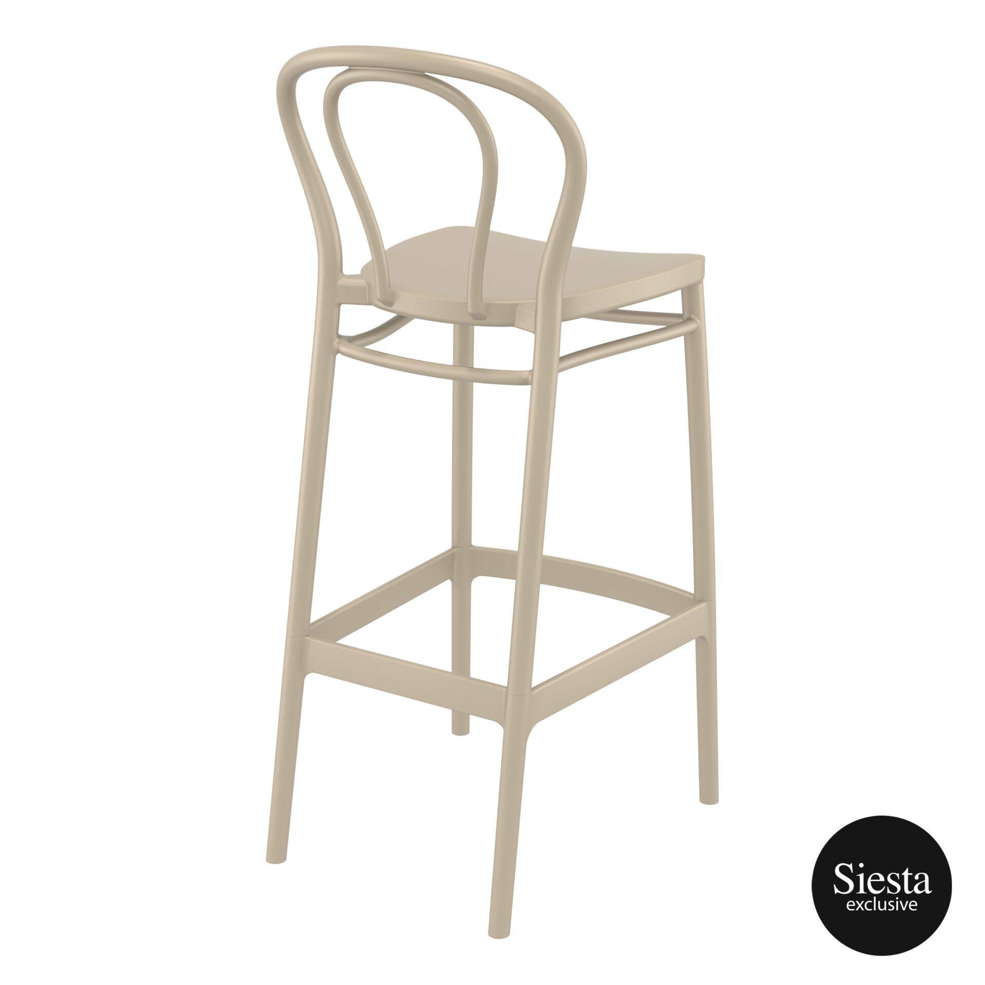 restaurant seating polypropylene victor barstool 75 taupe back side 1