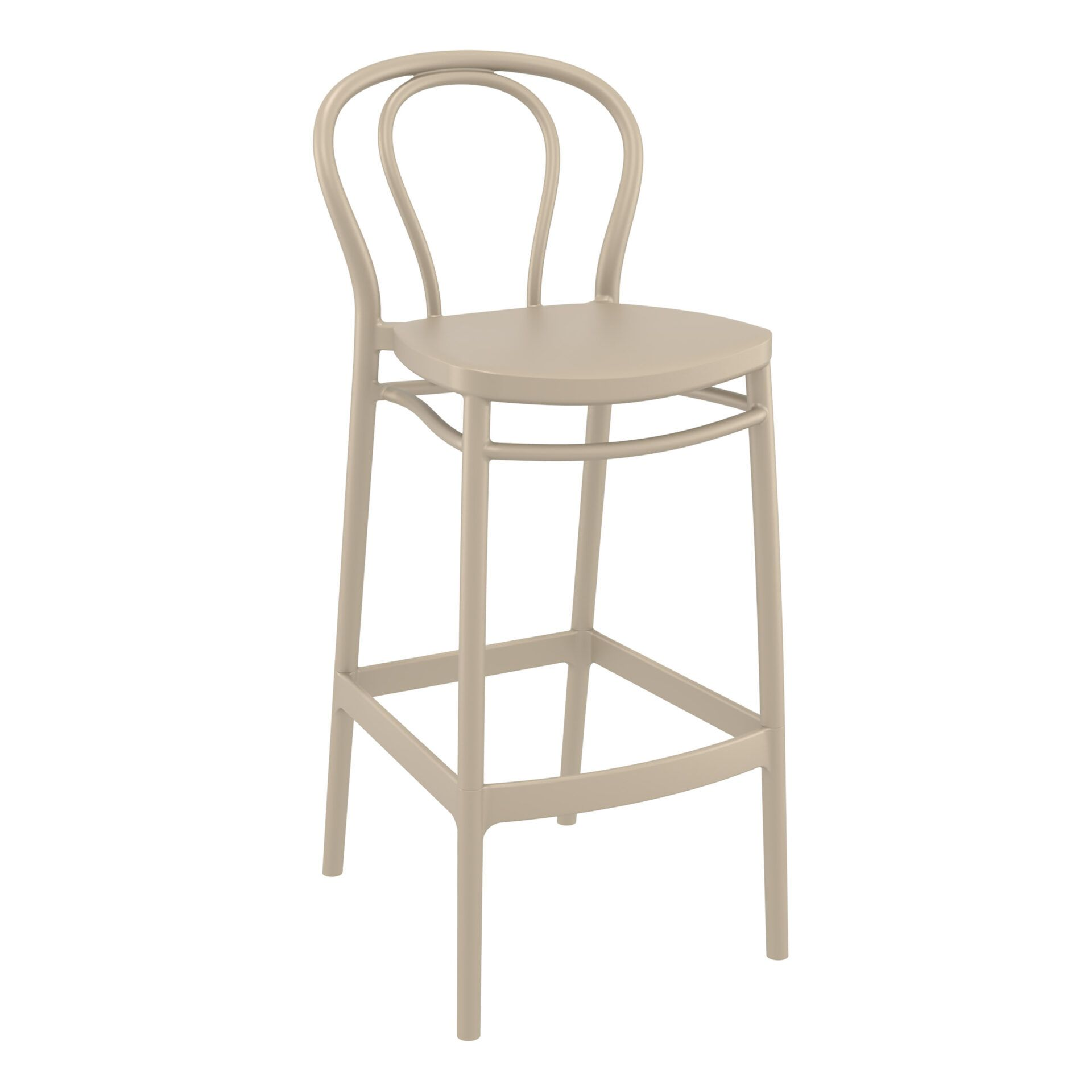 restaurant seating polypropylene victor barstool 75 taupe front side