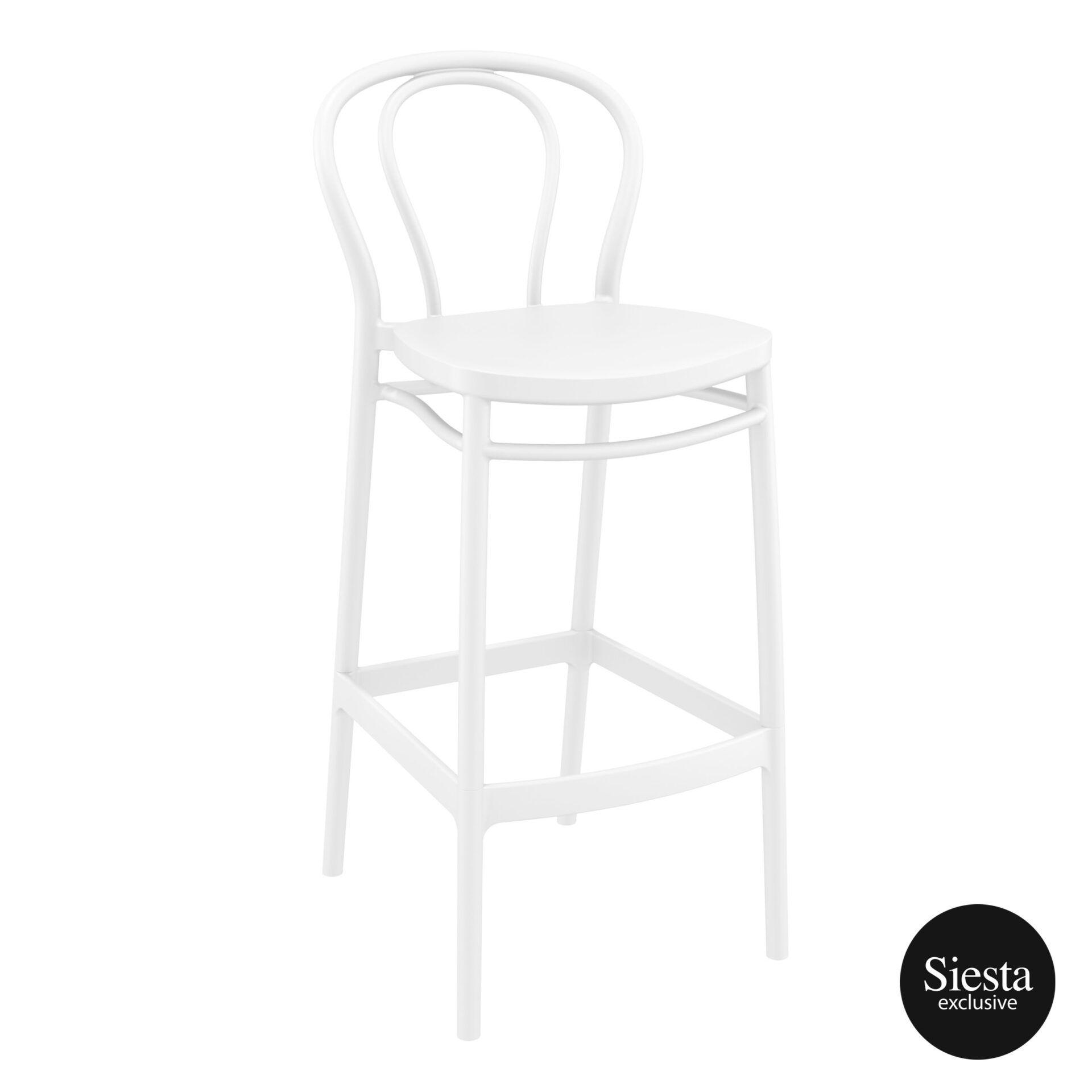 restaurant seating polypropylene victor barstool 75 white front side 1