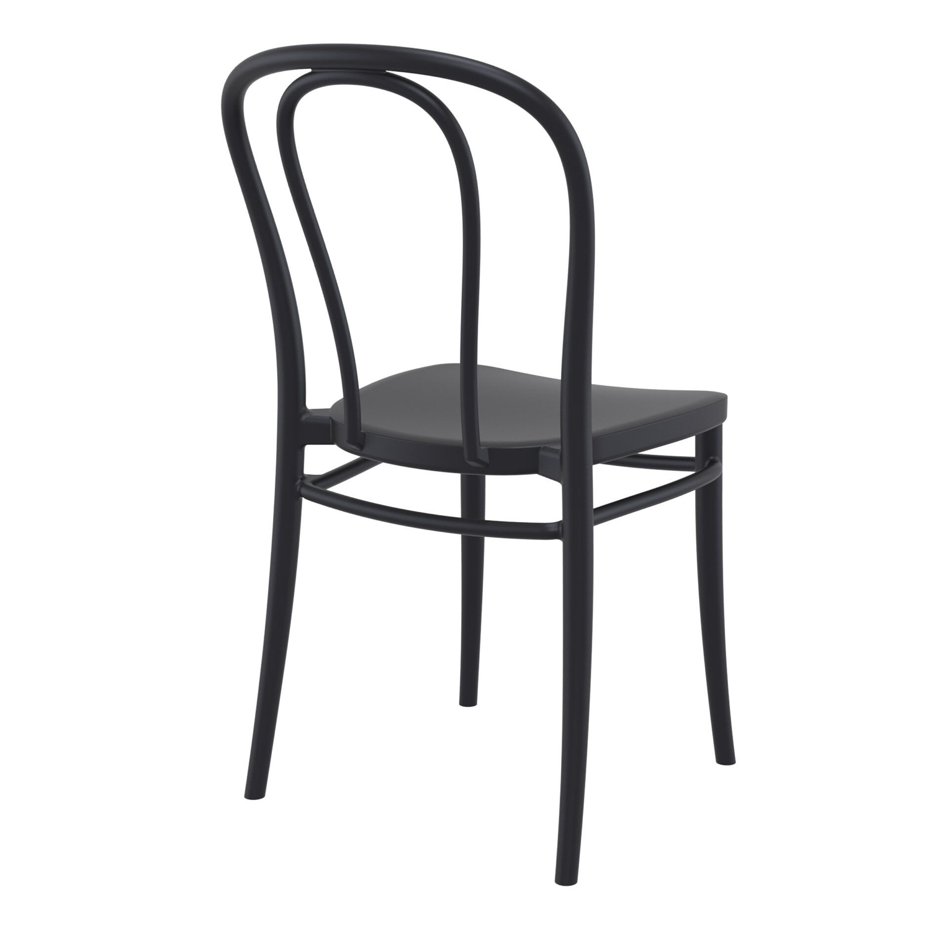 restaurant seating polypropylene victor chair black back side
