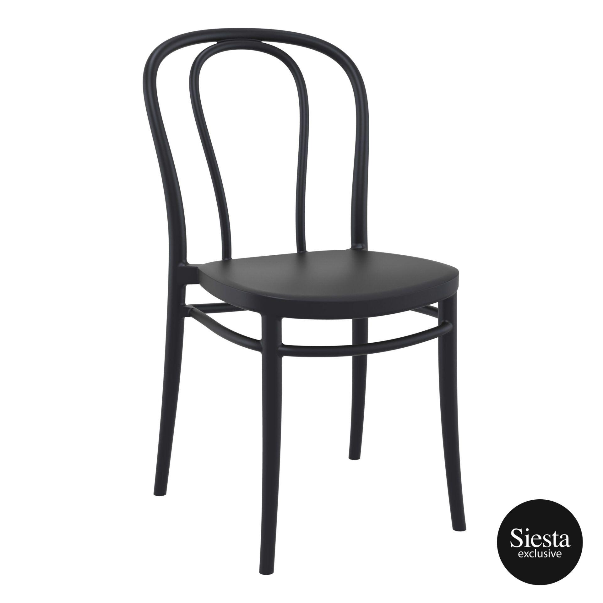restaurant seating polypropylene victor chair black front side 1