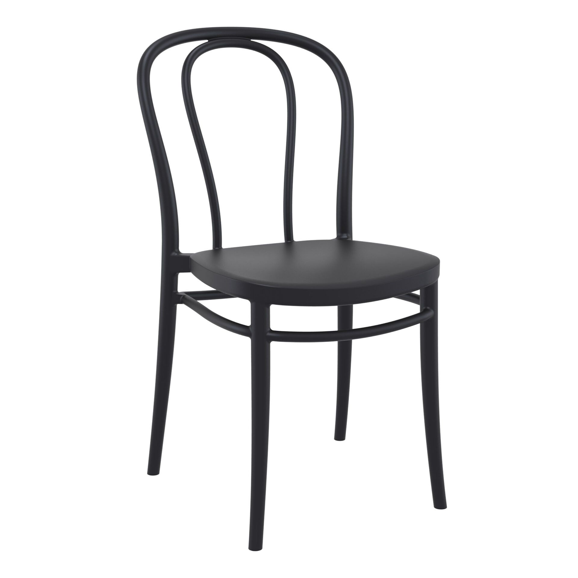 restaurant seating polypropylene victor chair black front side