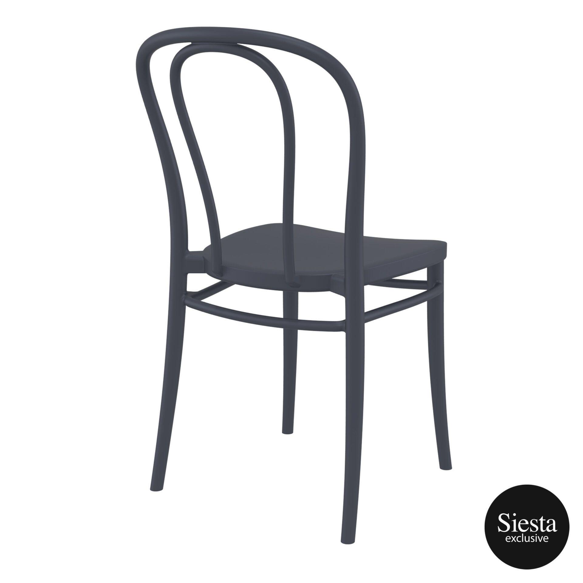 restaurant seating polypropylene victor chair darkgrey back side 2