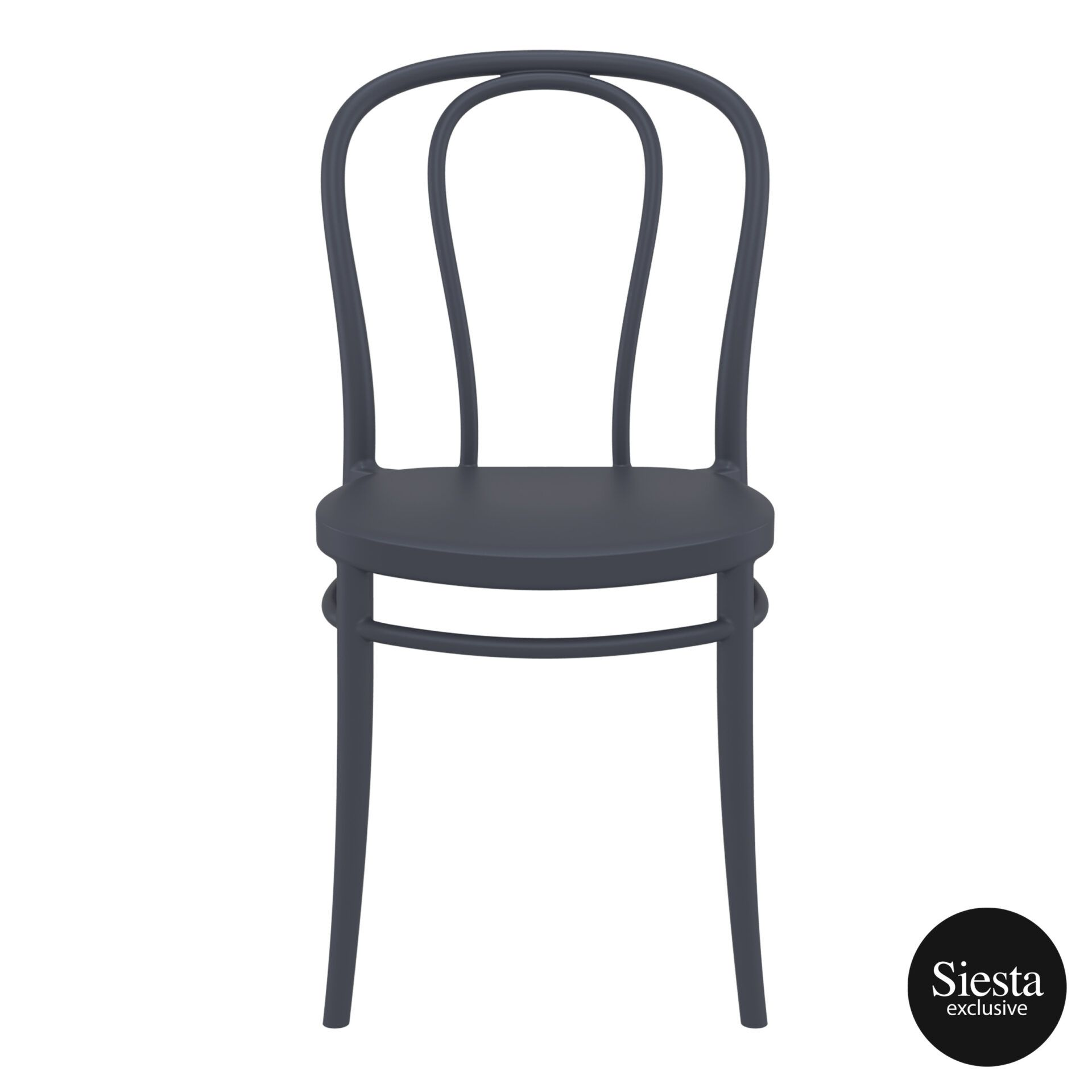 restaurant seating polypropylene victor chair darkgrey front 2