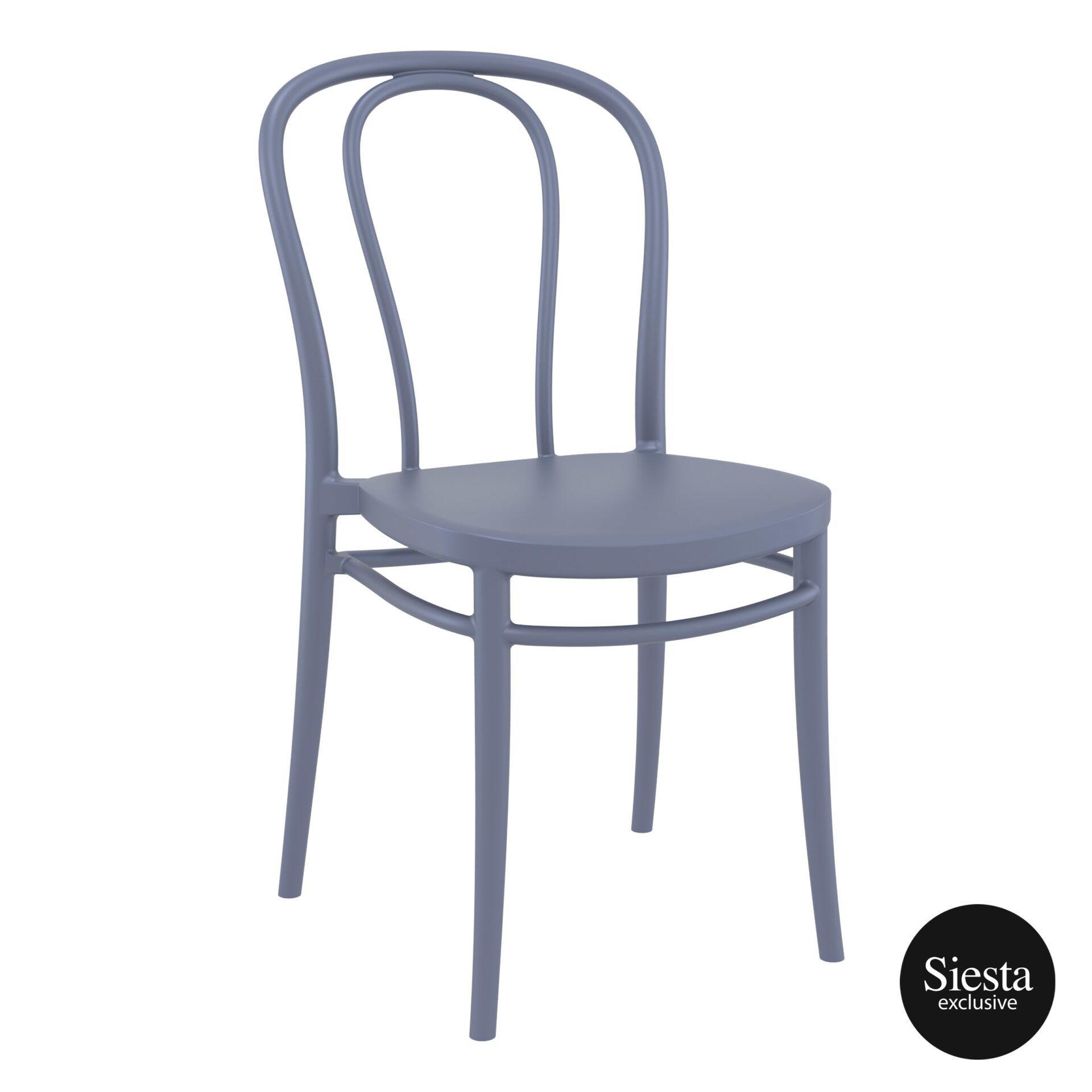 restaurant seating polypropylene victor chair darkgrey front side 1