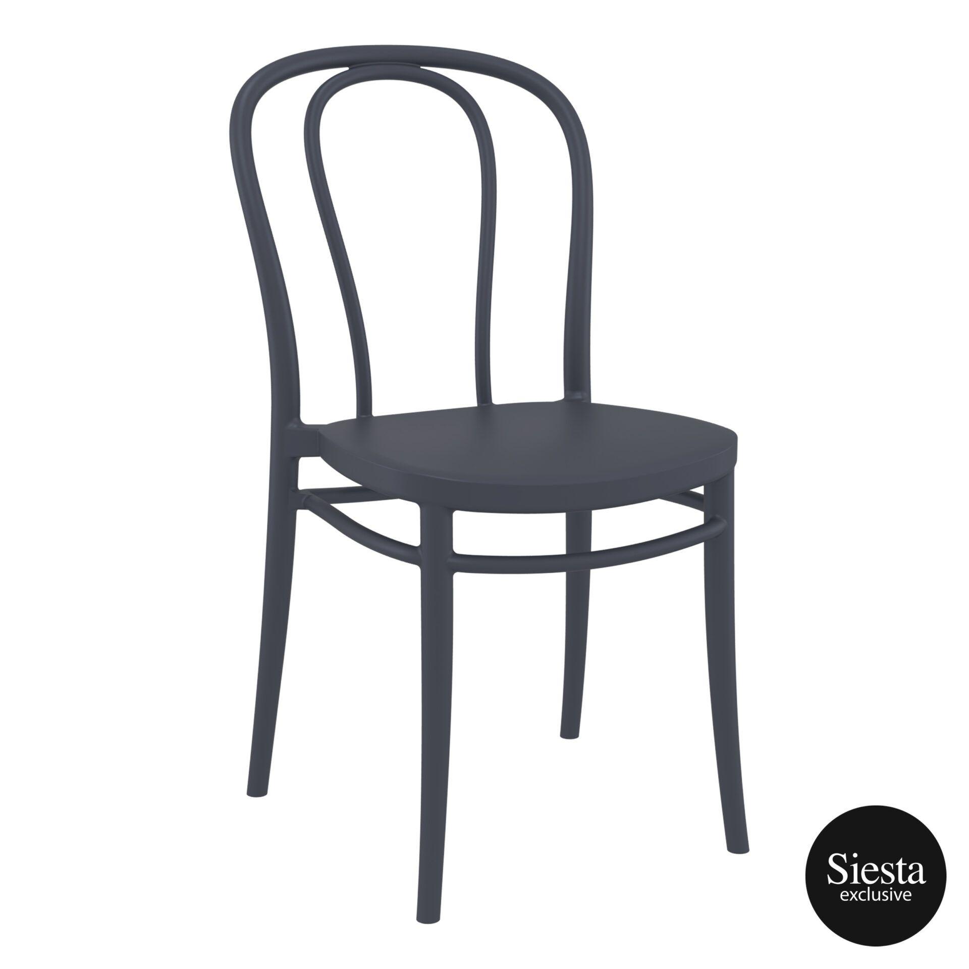 restaurant seating polypropylene victor chair darkgrey front side 2