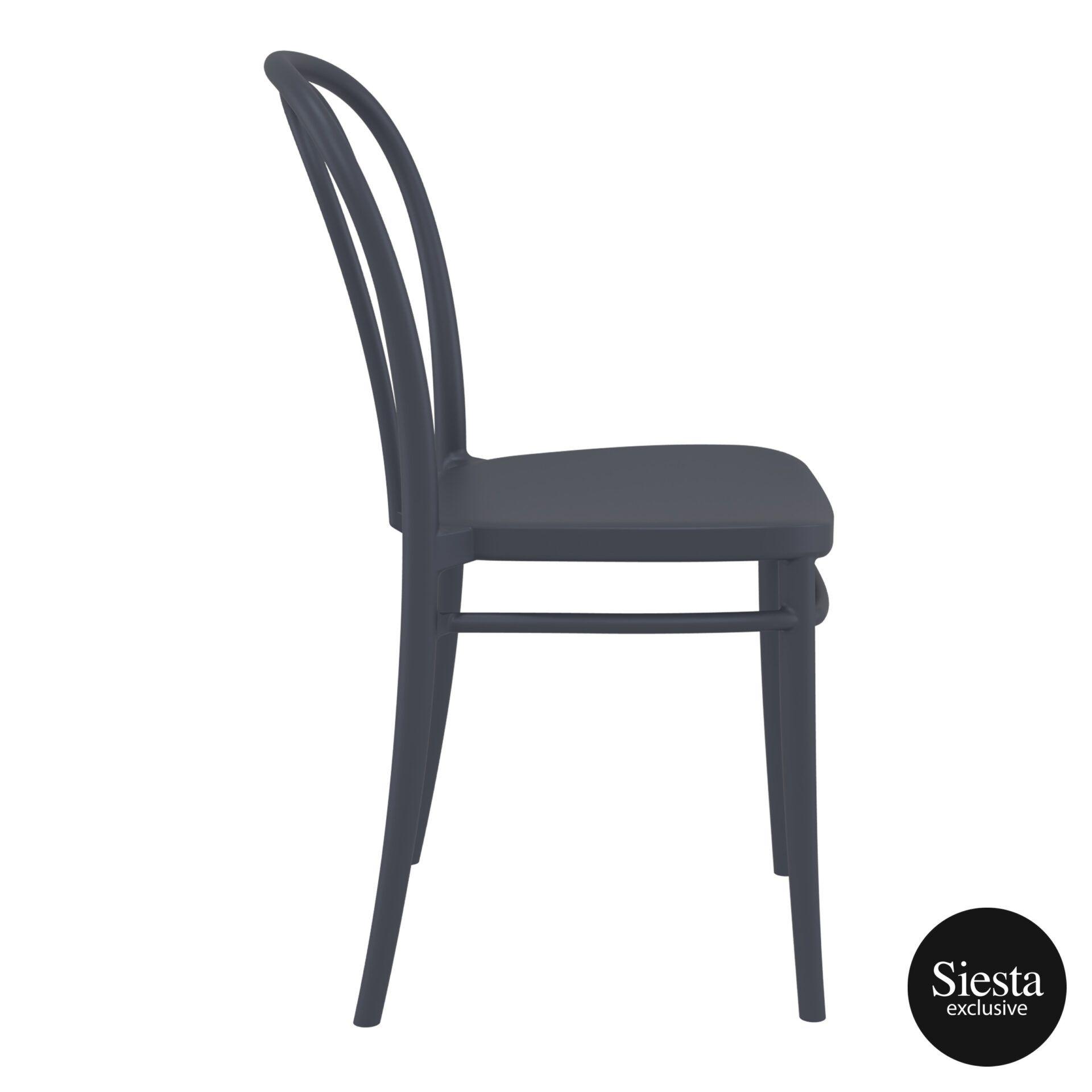 restaurant seating polypropylene victor chair darkgrey side 2