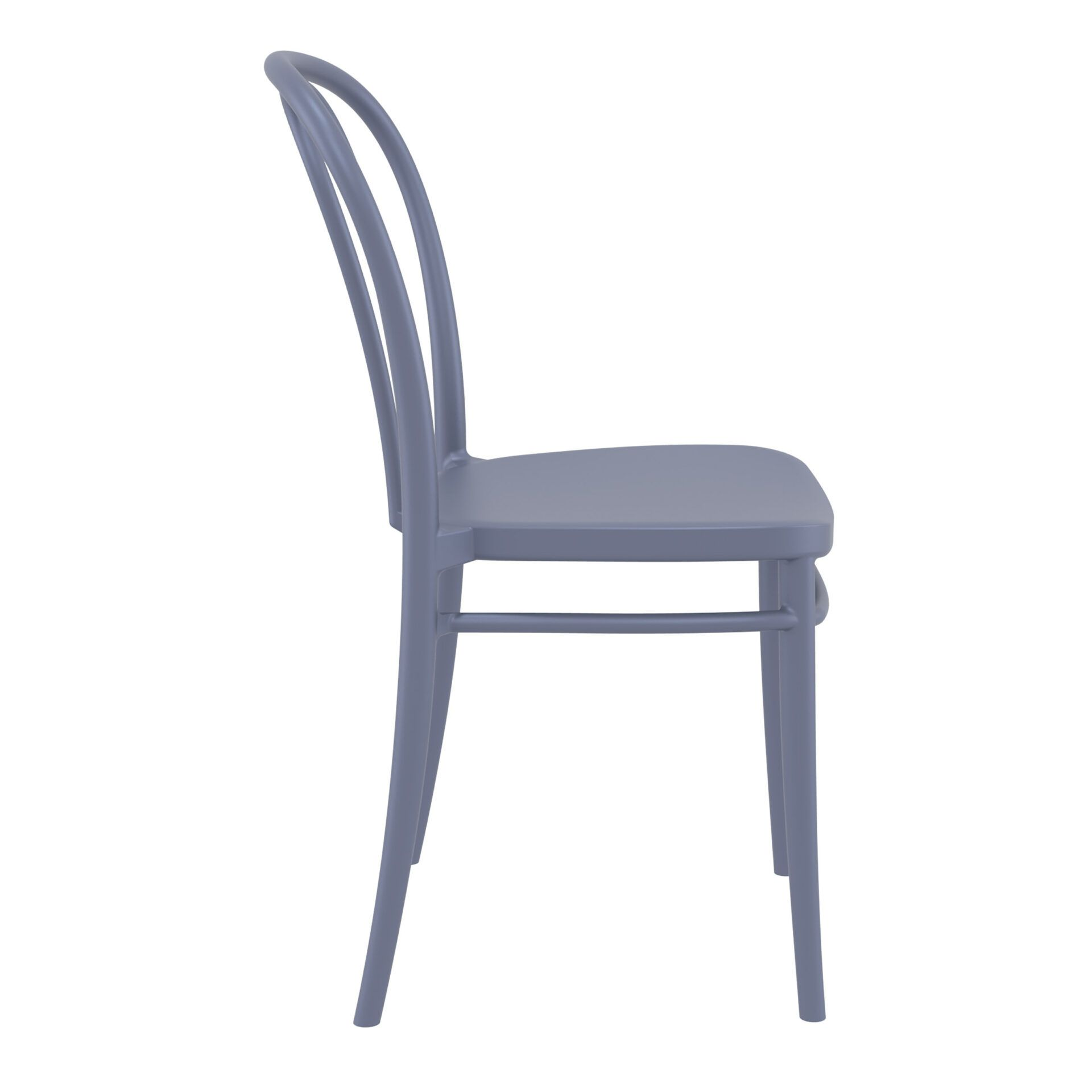 restaurant seating polypropylene victor chair darkgrey side