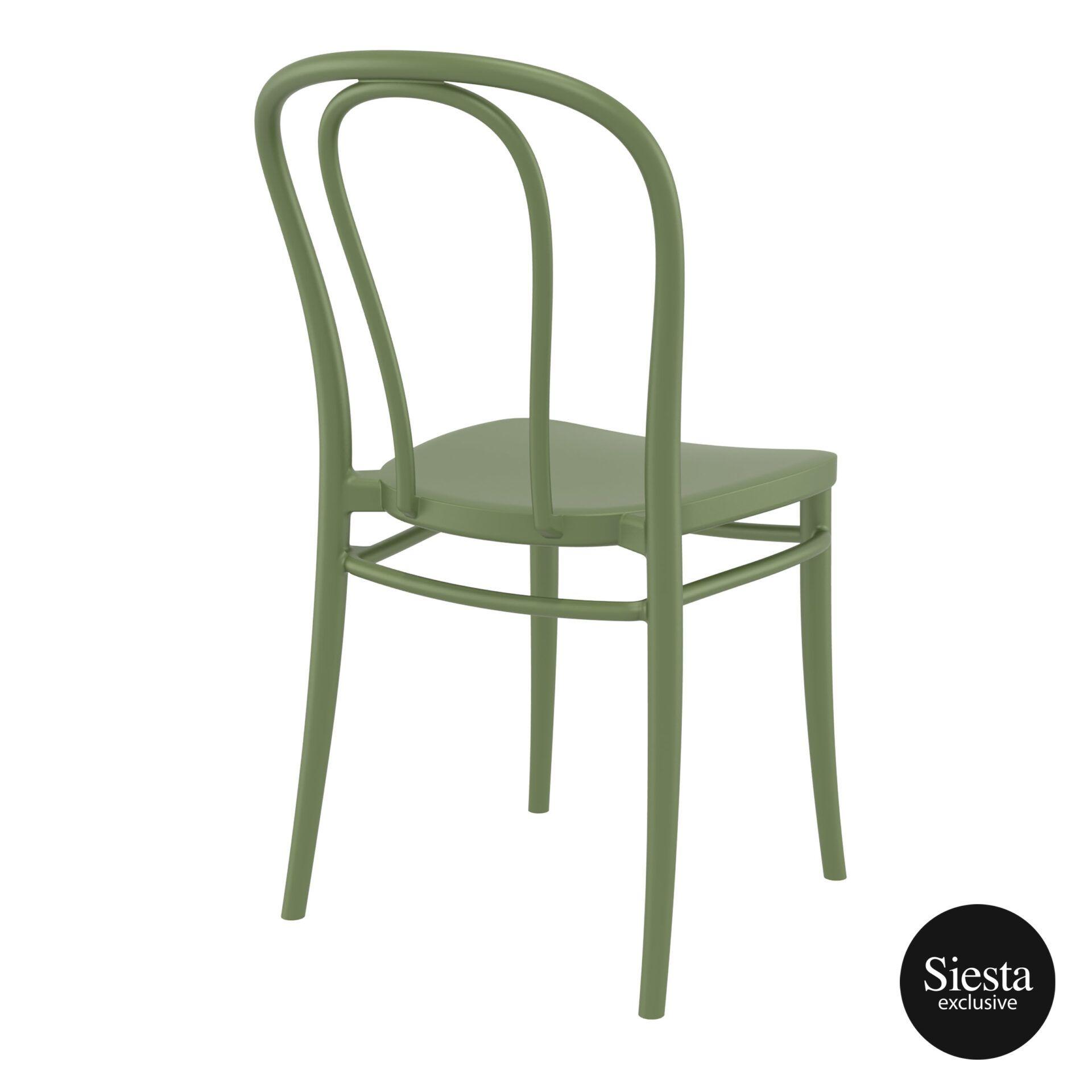 restaurant seating polypropylene victor chair olive green back side 1