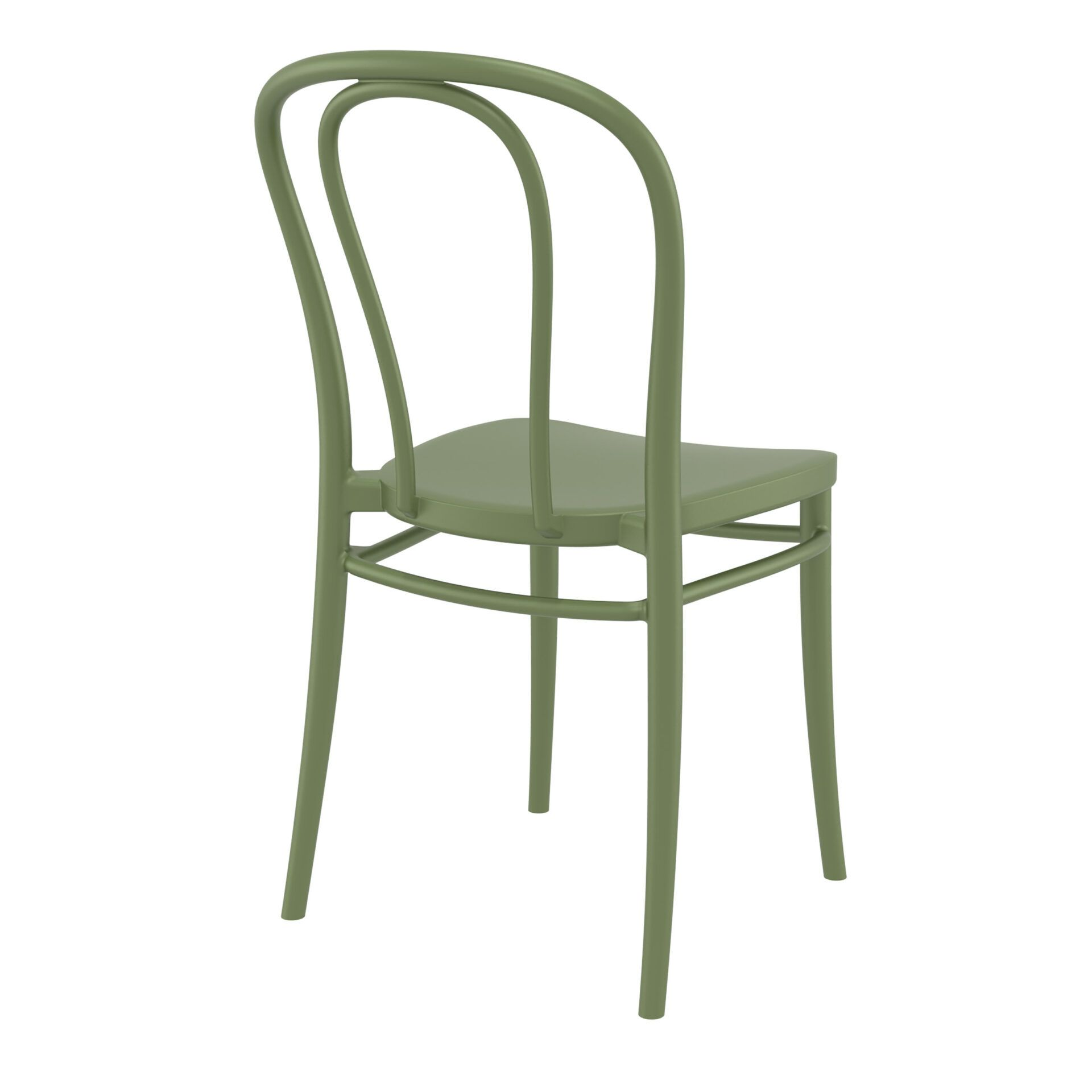 restaurant seating polypropylene victor chair olive green back side