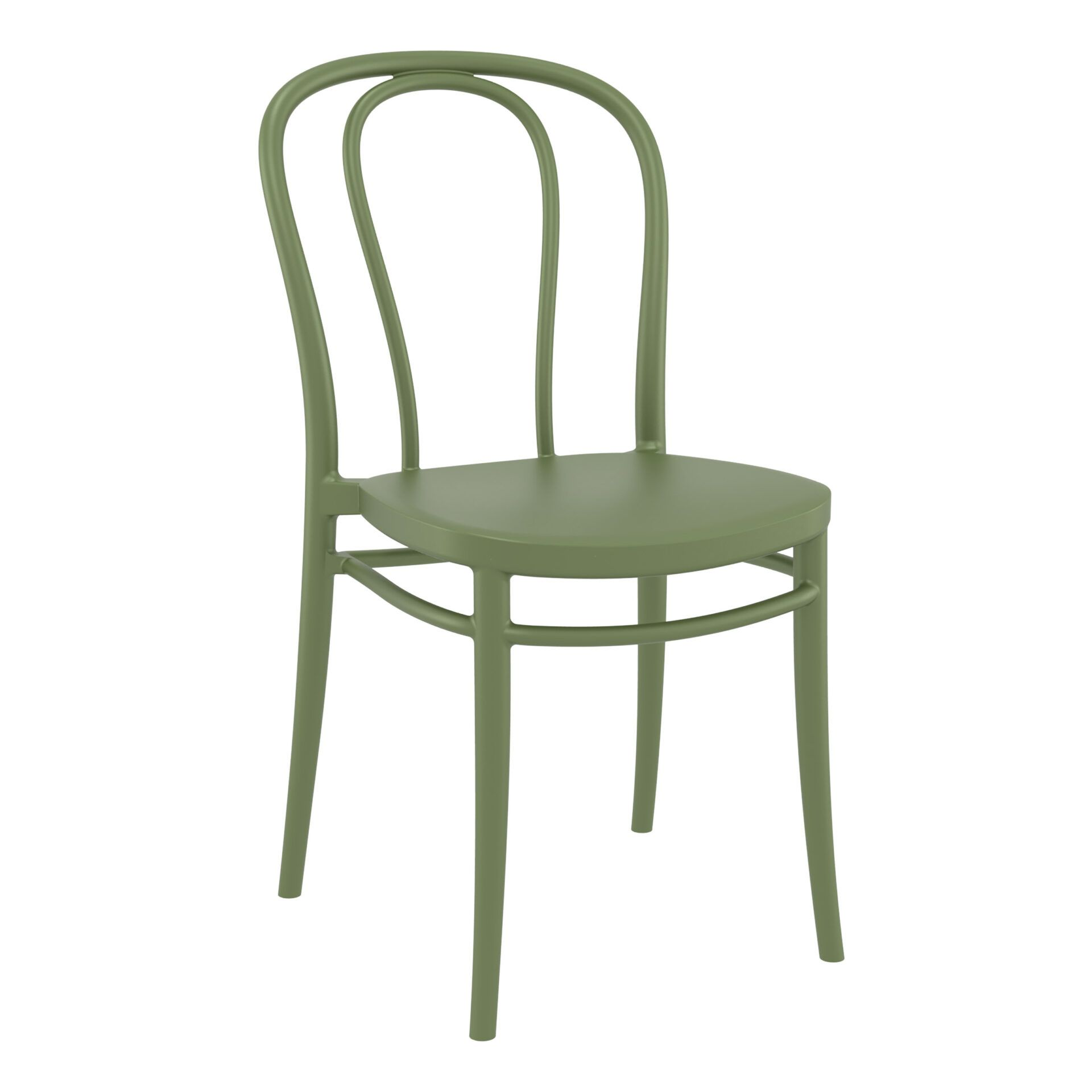 restaurant seating polypropylene victor chair olive green front side