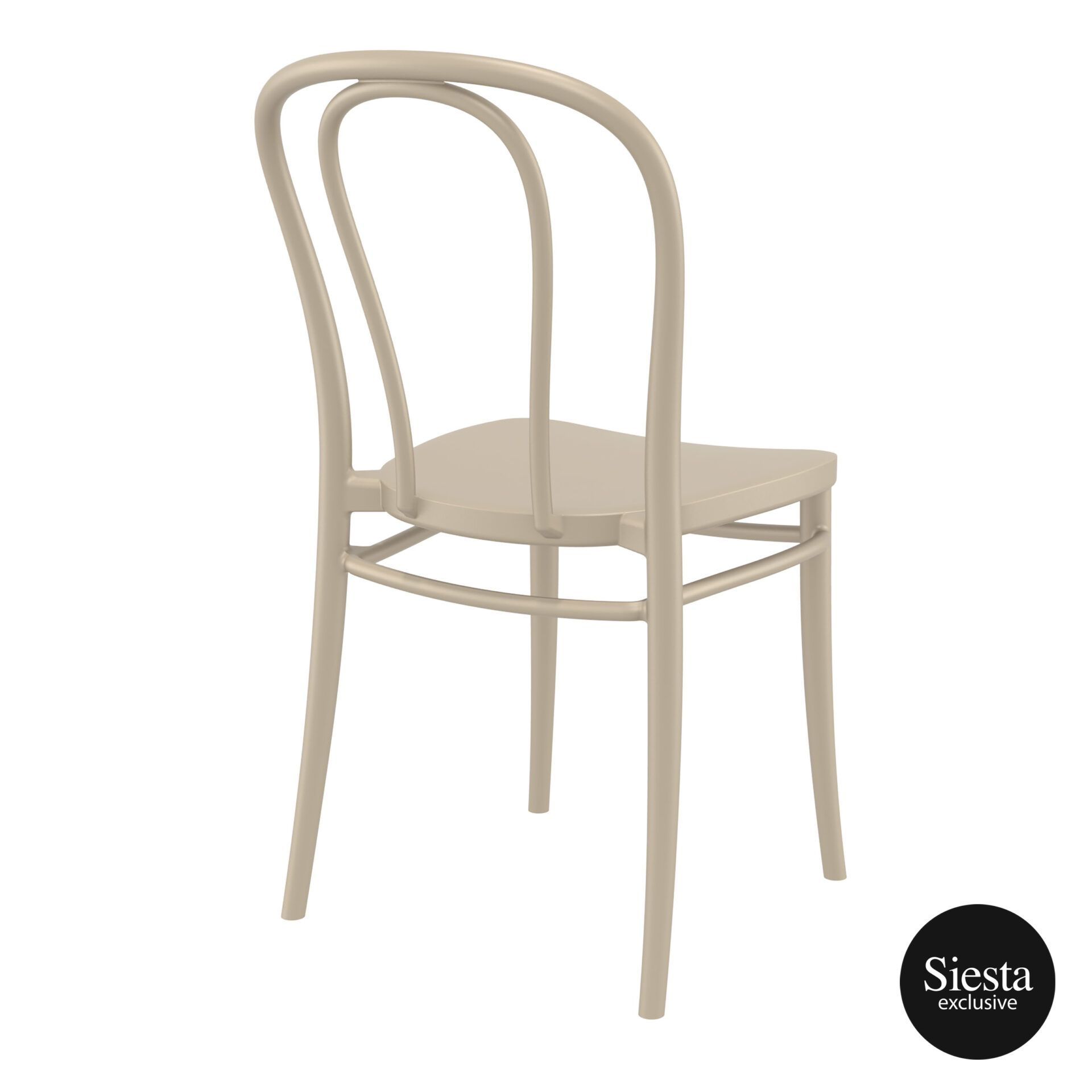 restaurant seating polypropylene victor chair taupe back side 1