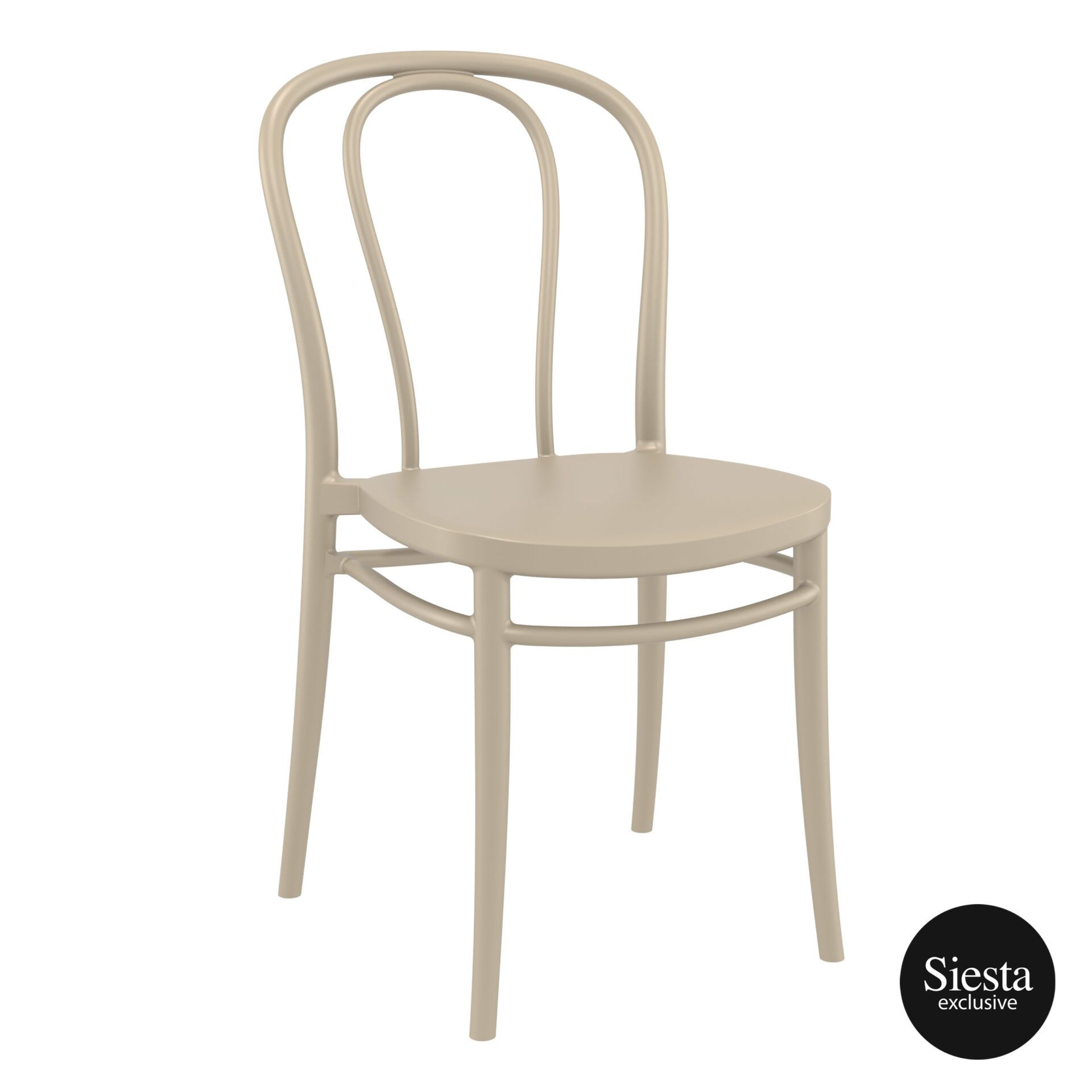 restaurant seating polypropylene victor chair taupe front side 1