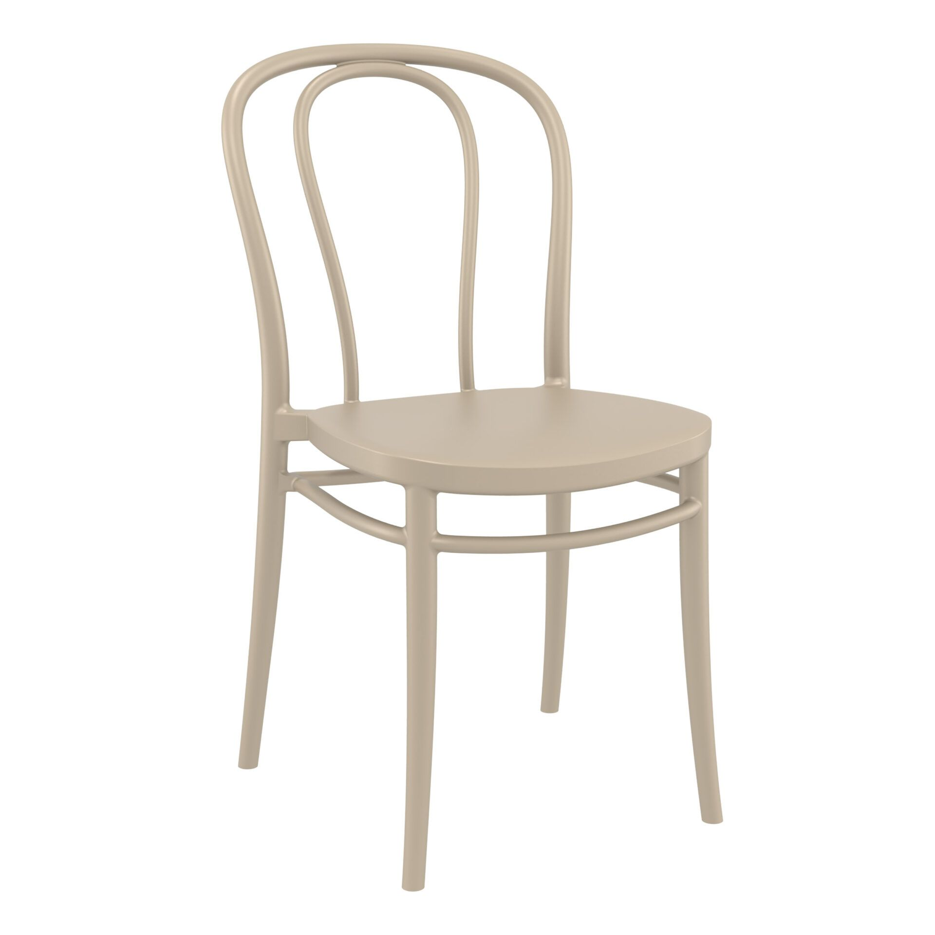 restaurant seating polypropylene victor chair taupe front side
