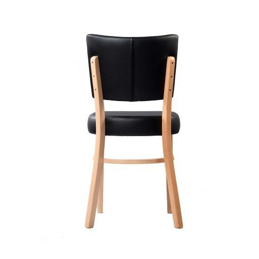 memphis chair black vinyl seat and backrest natural frame back