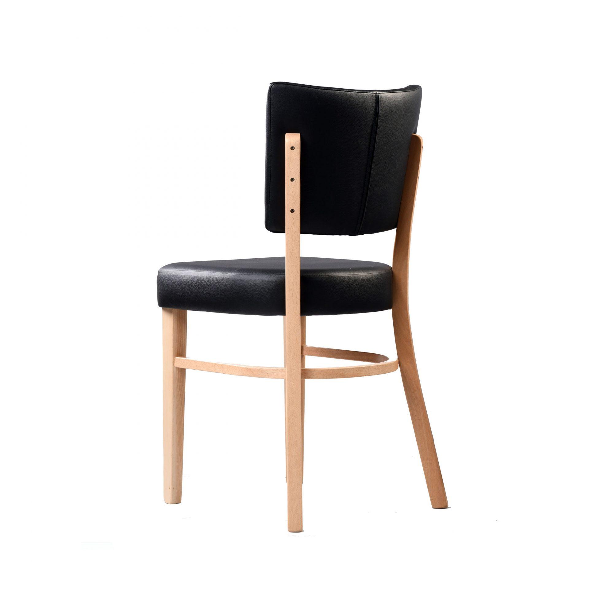 memphis chair black vinyl seat and backrest natural frame back left
