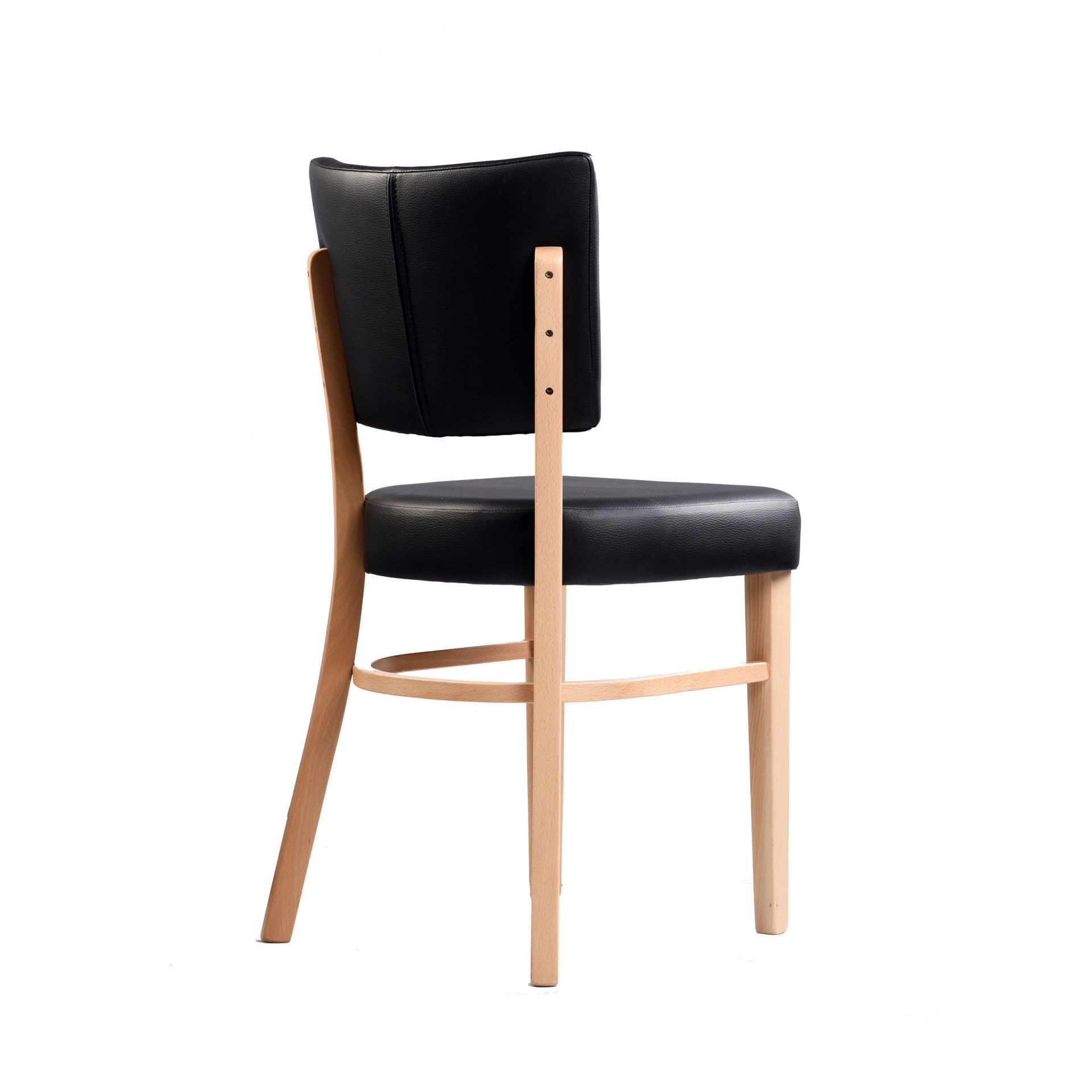 memphis chair black vinyl seat and backrest natural frame back right