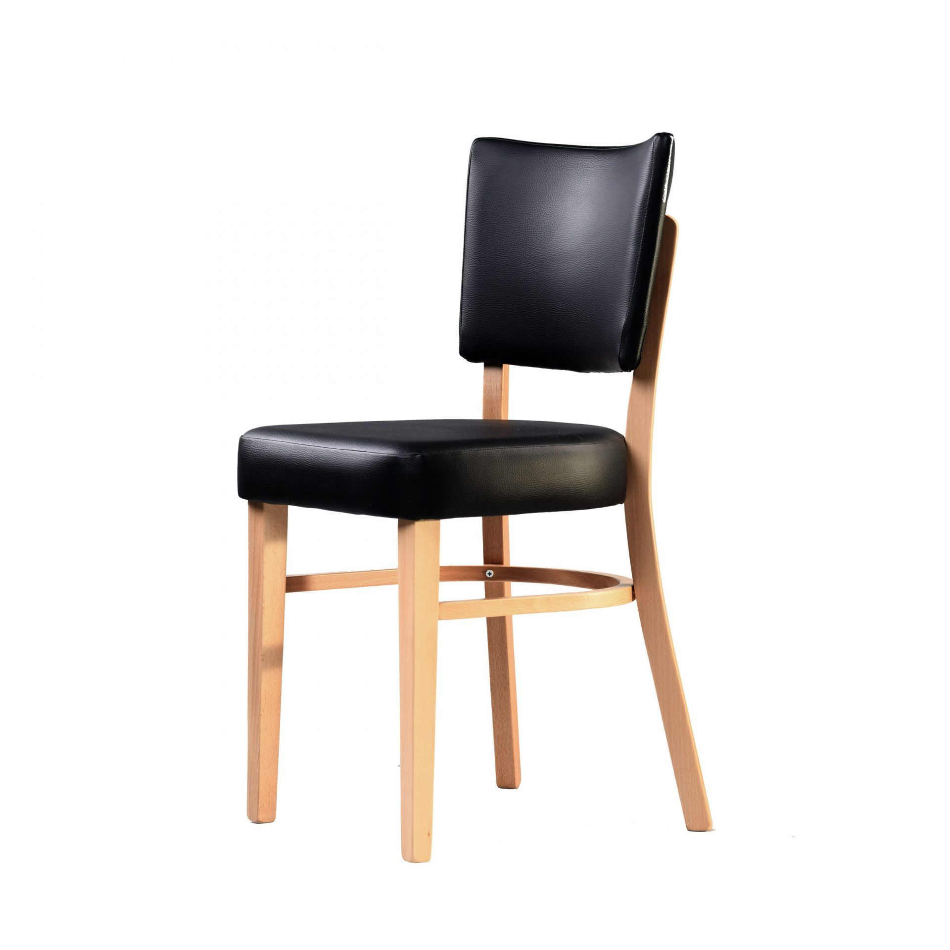 memphis chair black vinyl seat and backrest natural frame front left