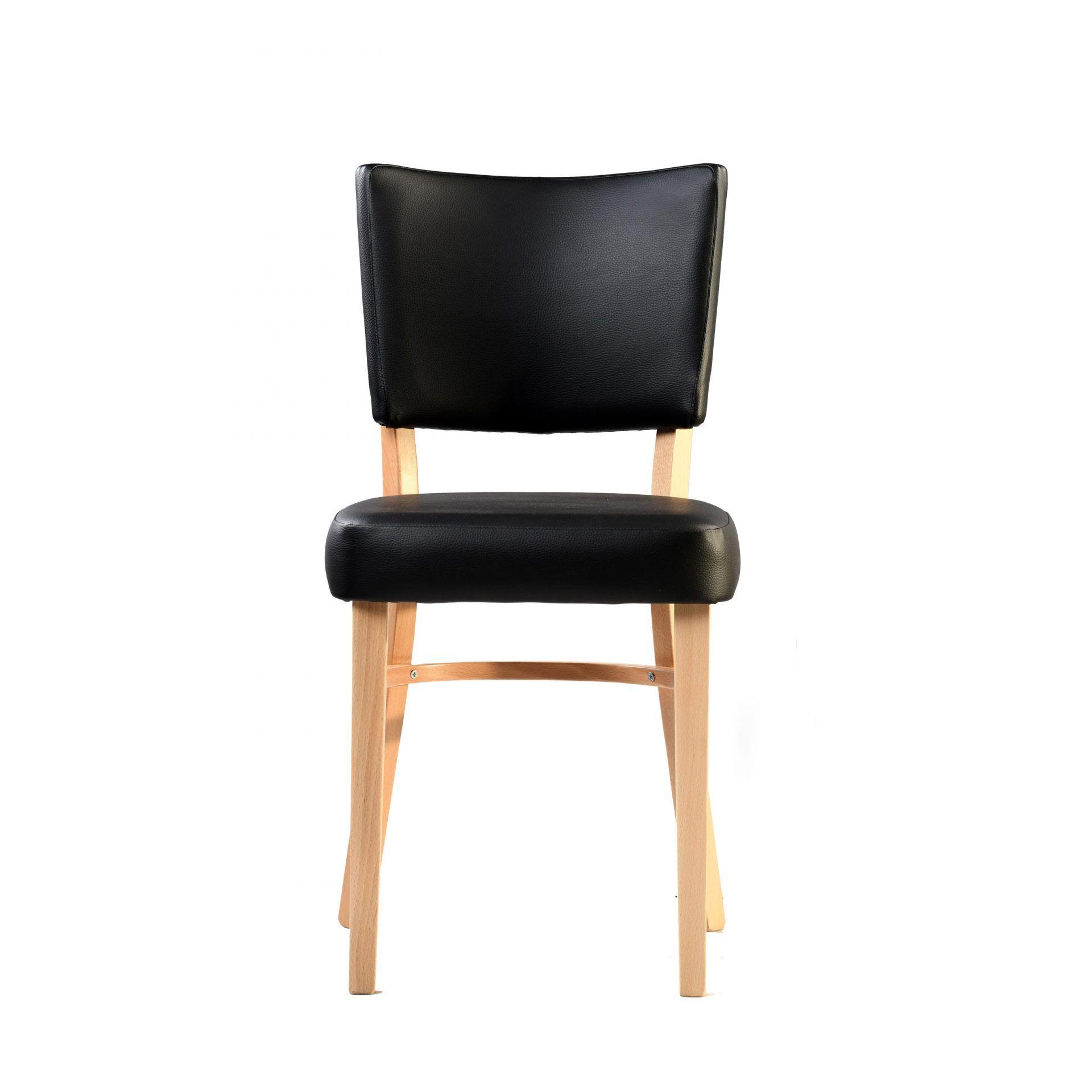 memphis chair black vinyl seat and backrest natural frame front