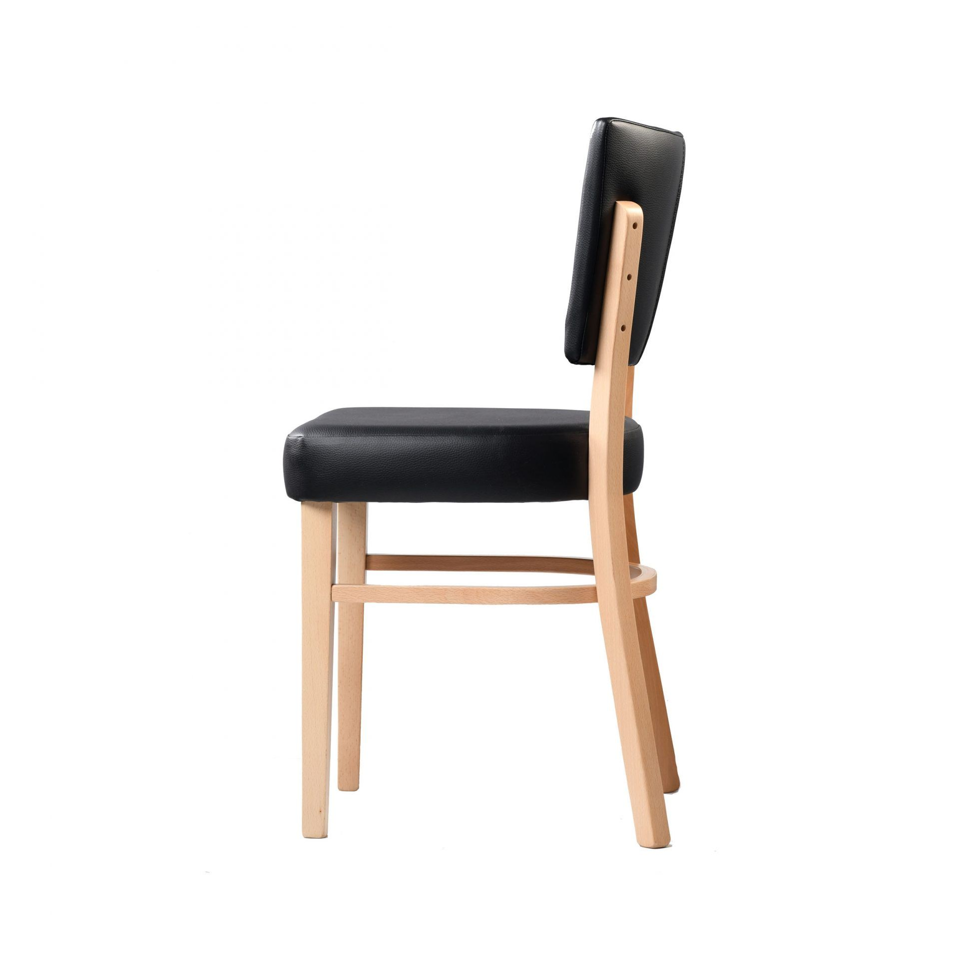 memphis chair black vinyl seat and backrest natural frame left