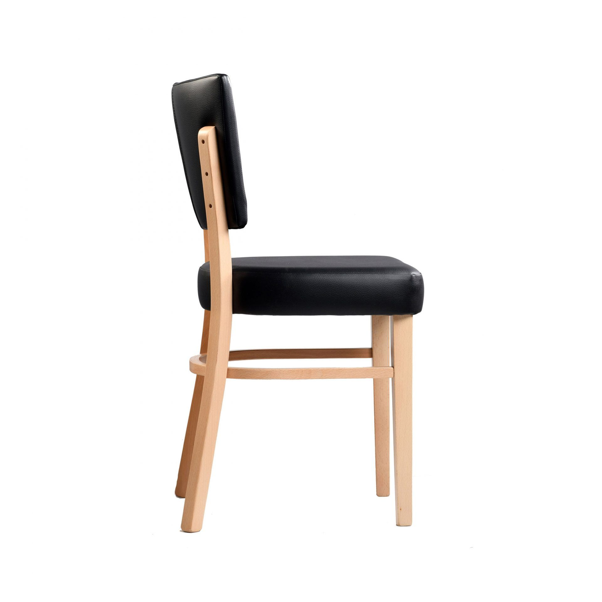 memphis chair black vinyl seat and backrest natural frame right
