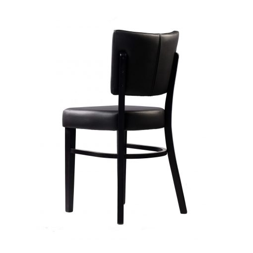 memphis chair black vinyl seat and backrest wenge frame back left