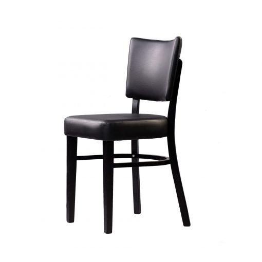 memphis chair black vinyl seat and backrest wenge frame front left