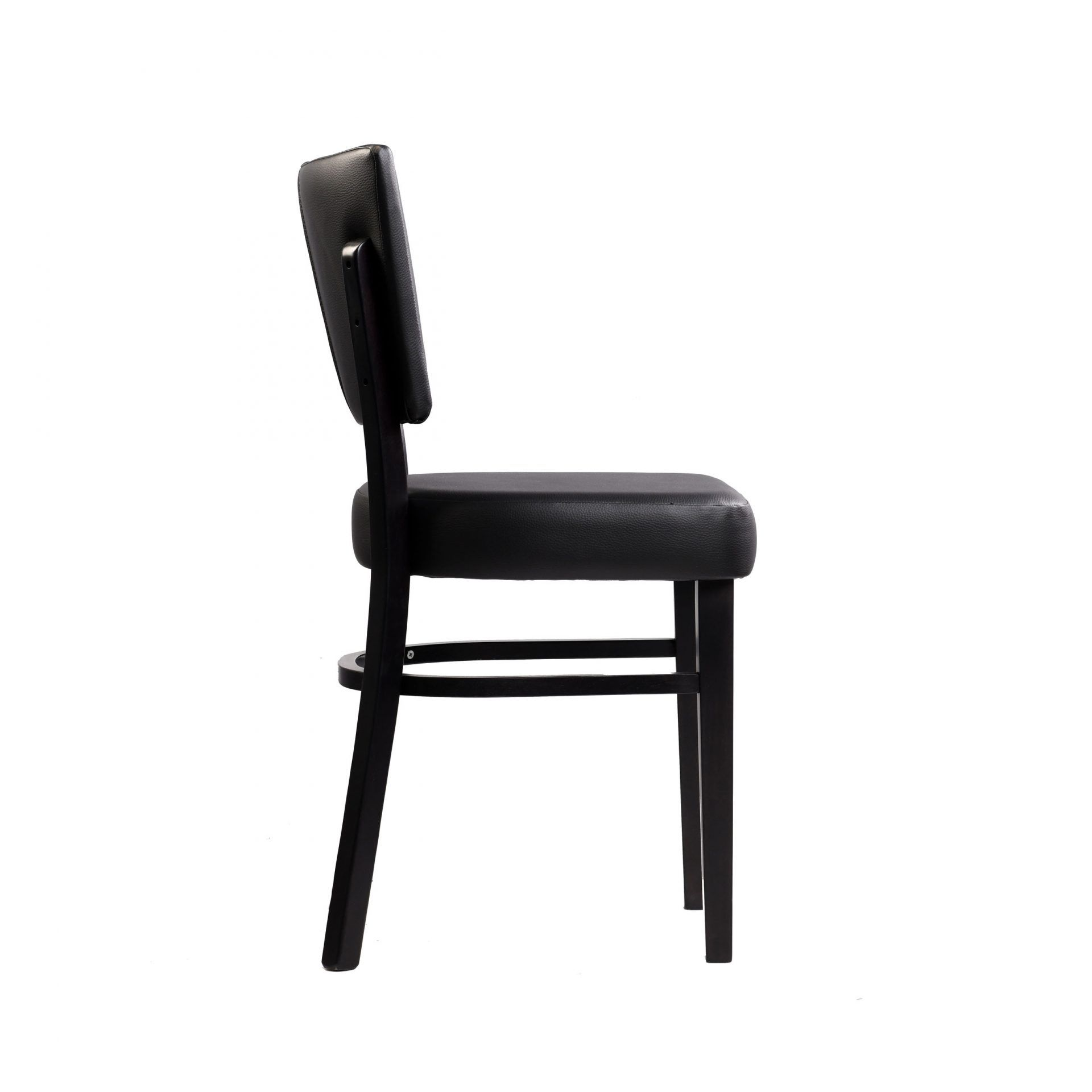 memphis chair black vinyl seat and backrest wenge frame right