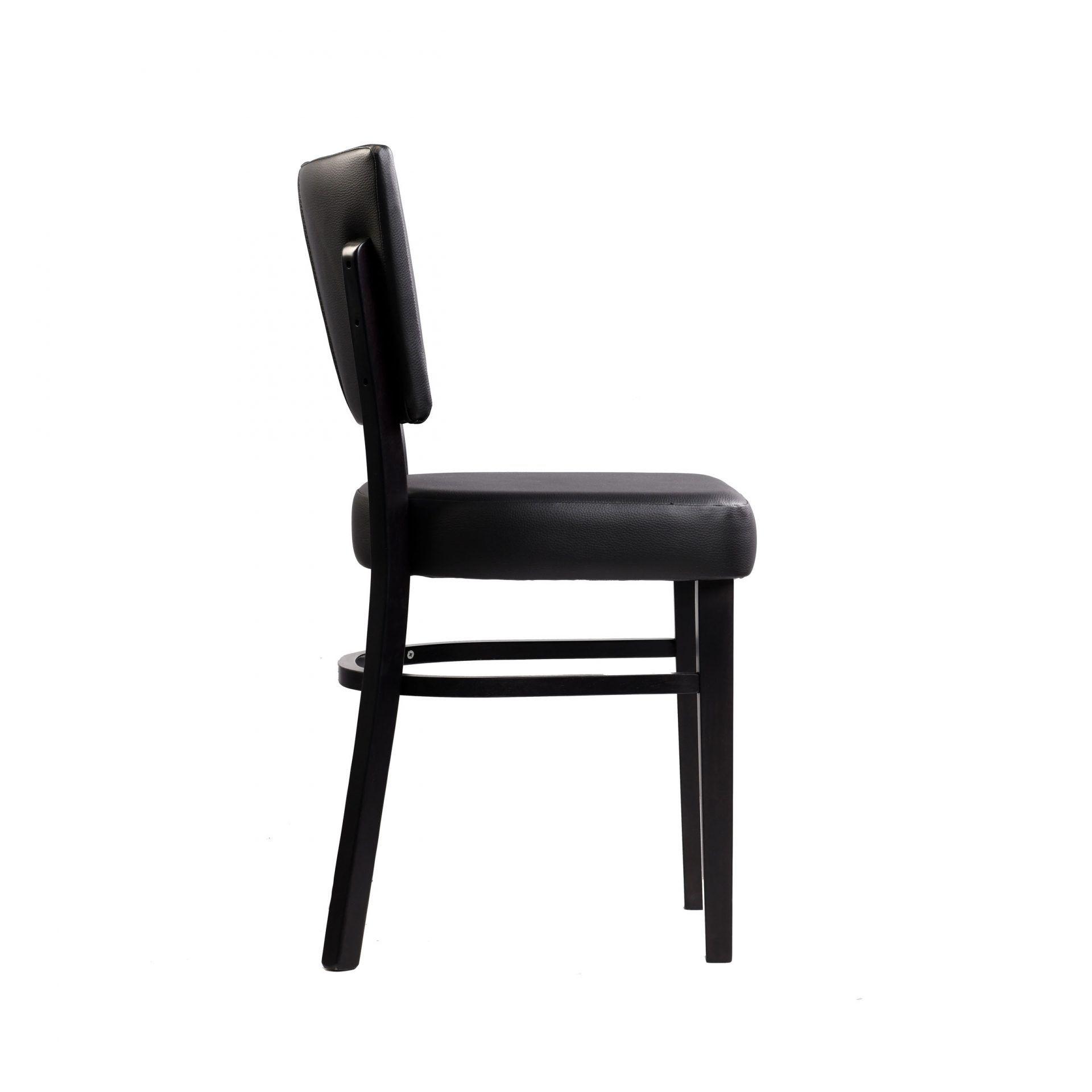 memphis chair black vinyl seat and backrest wenge frame right