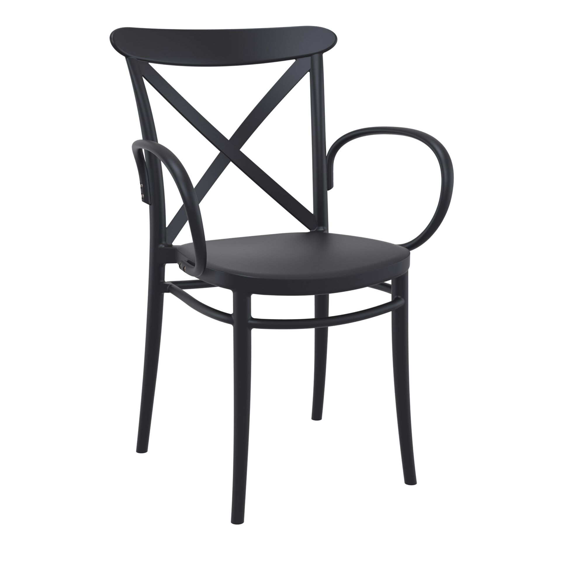cafe polypropylene cross armchair black front side