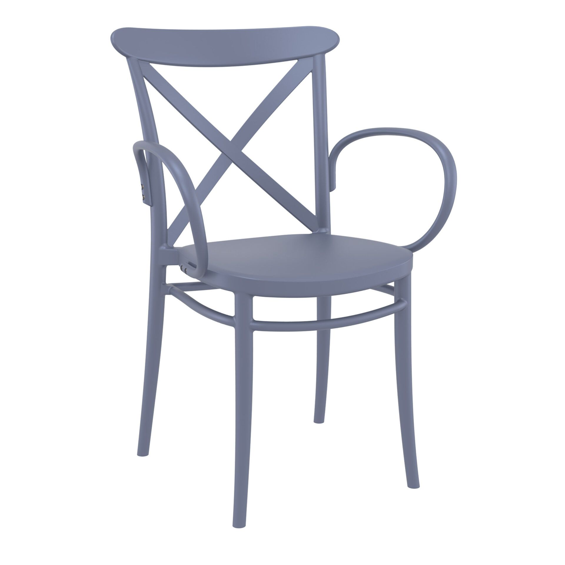 cafe polypropylene cross armchair darkgrey front side