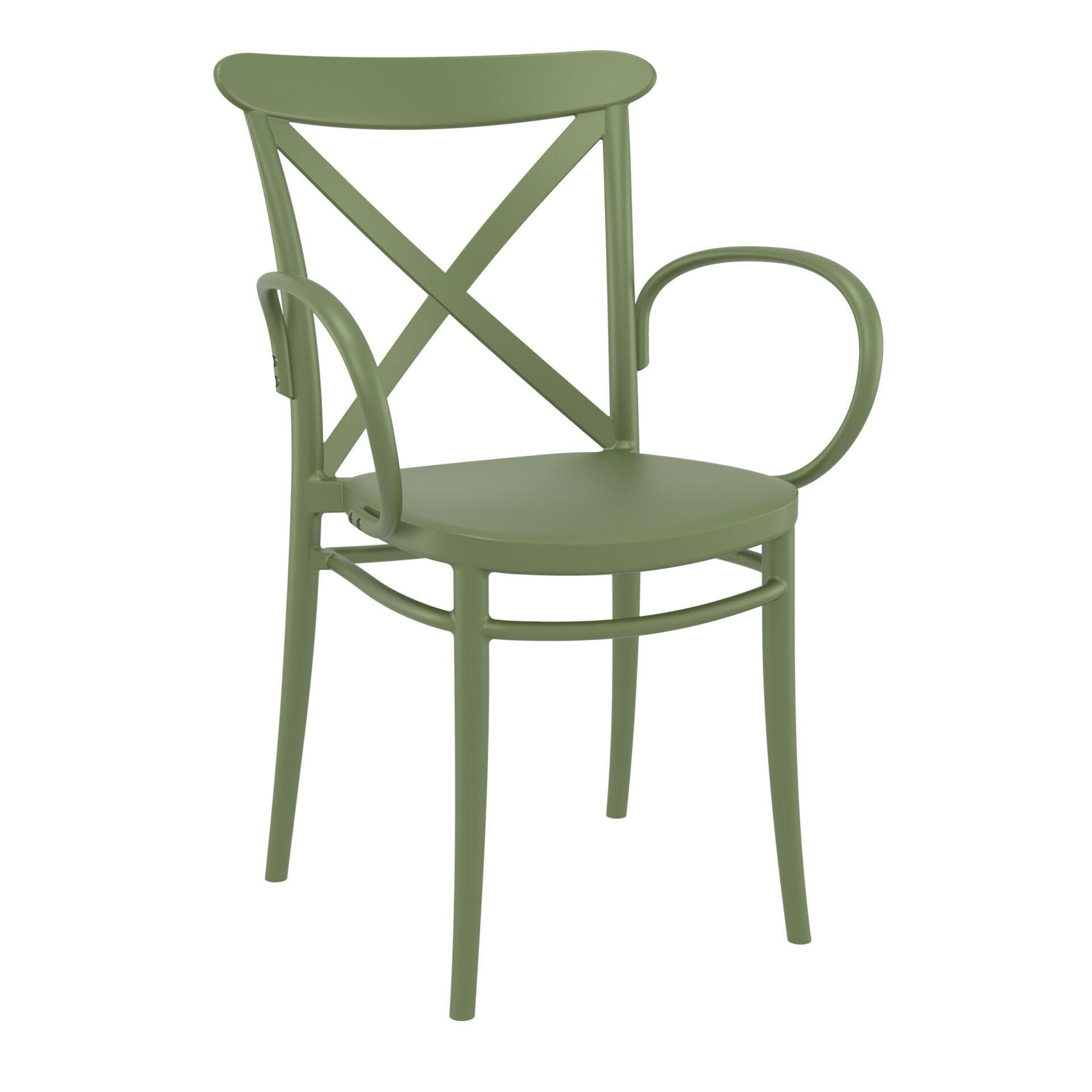 cafe polypropylene cross armchair olive green front side