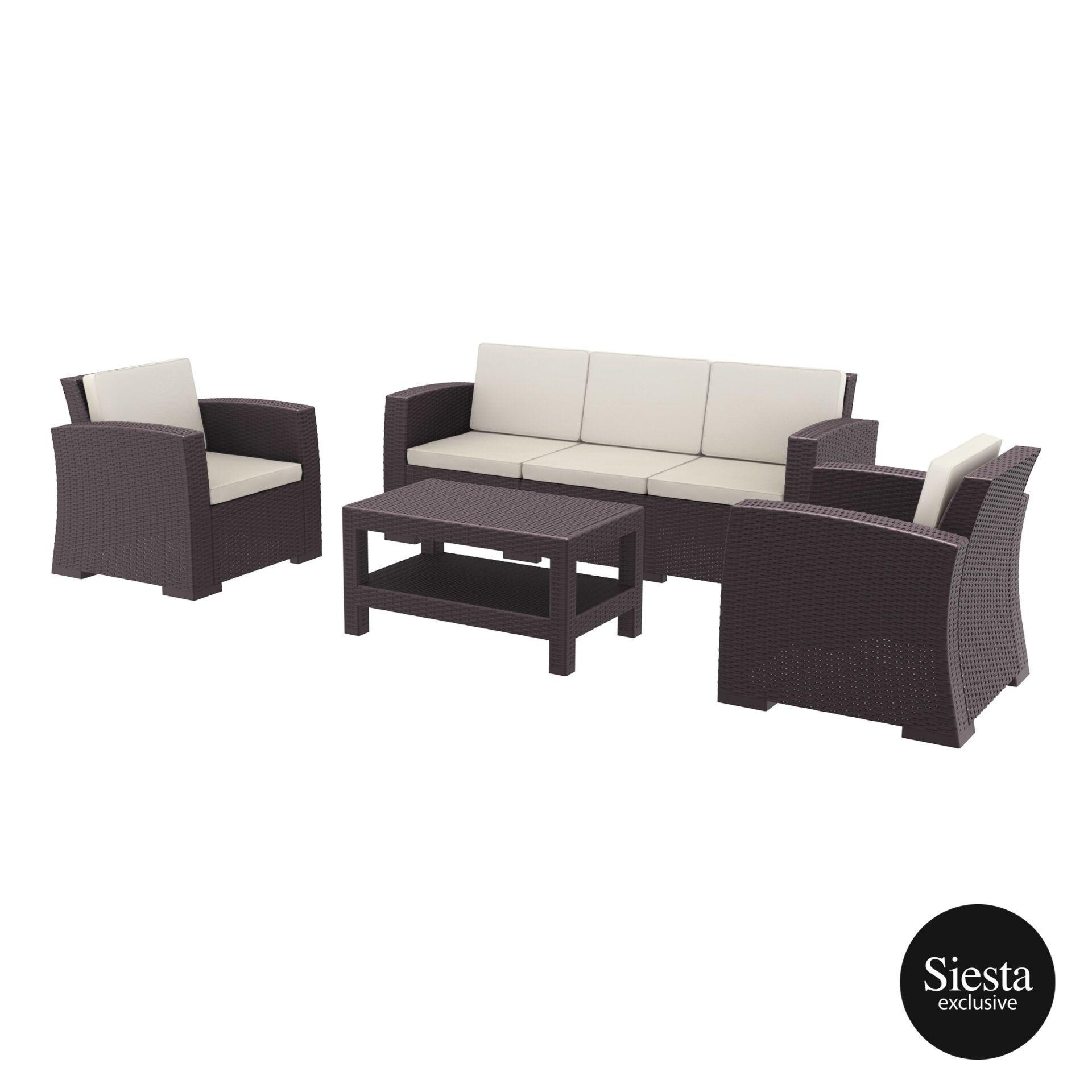 Resin Rattan Monaco Lounge Set Xl brown front side