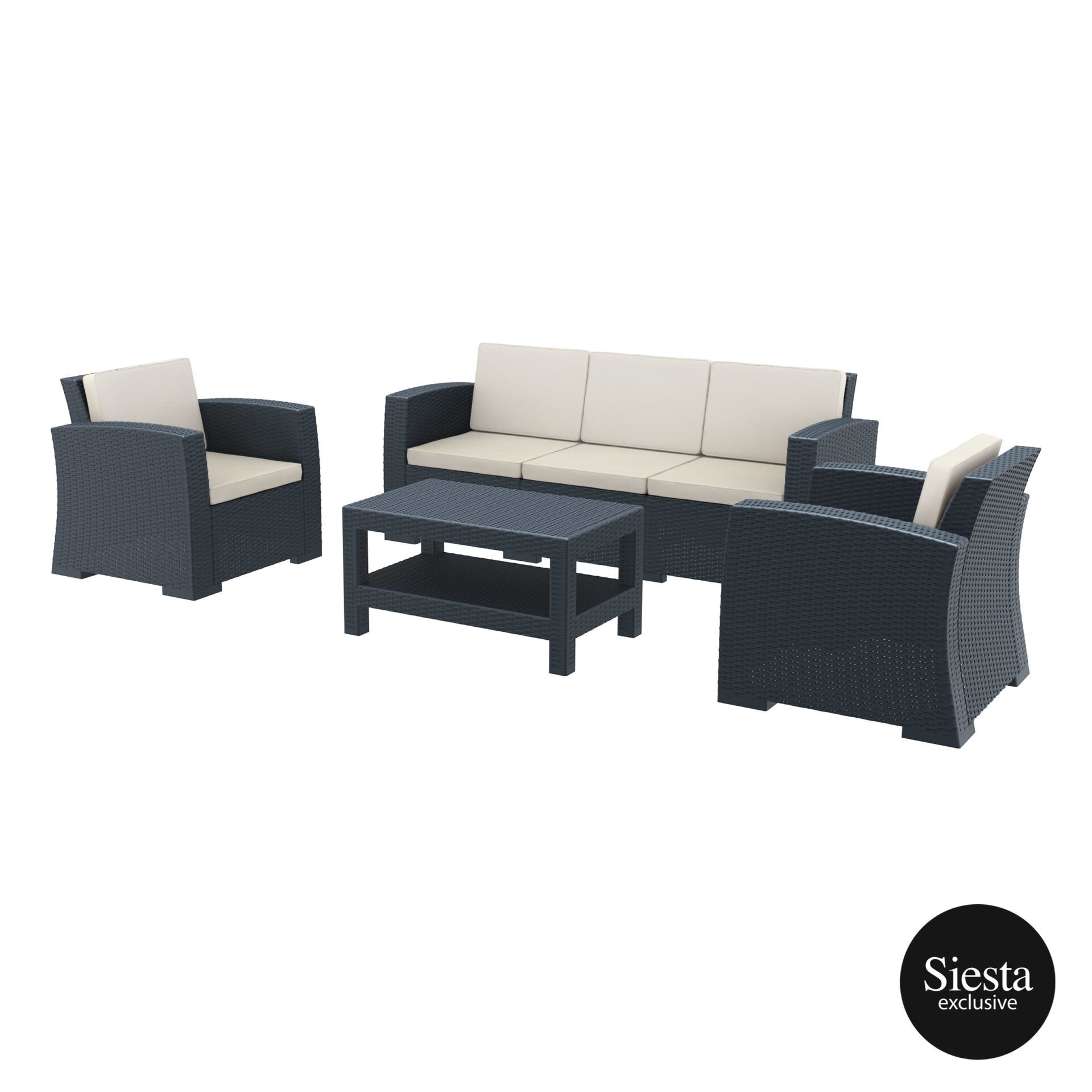 Resin Rattan Monaco Lounge Set Xl darkgrey front side