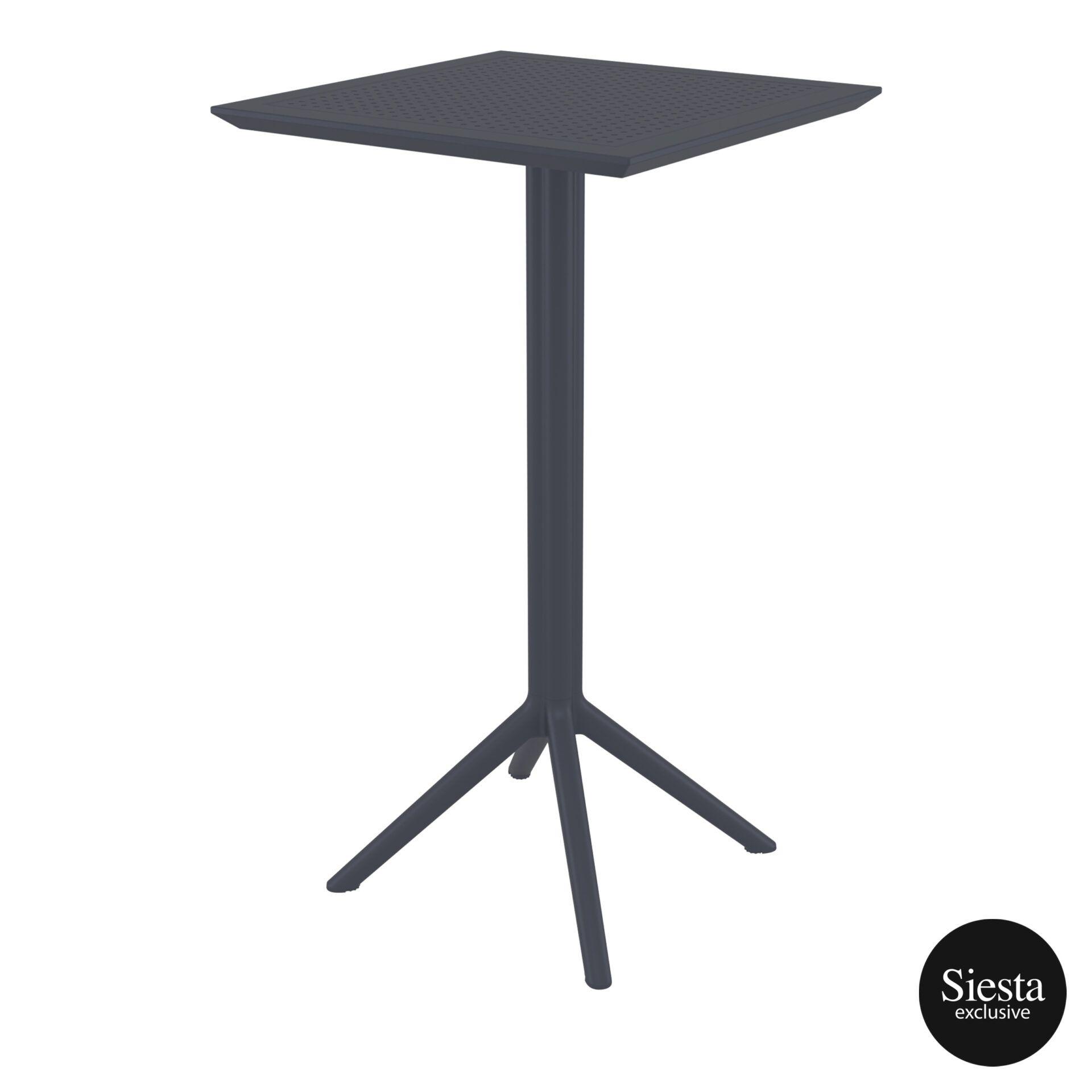 polypropylene outdoor sky folding bar table 60 darkgrey front side