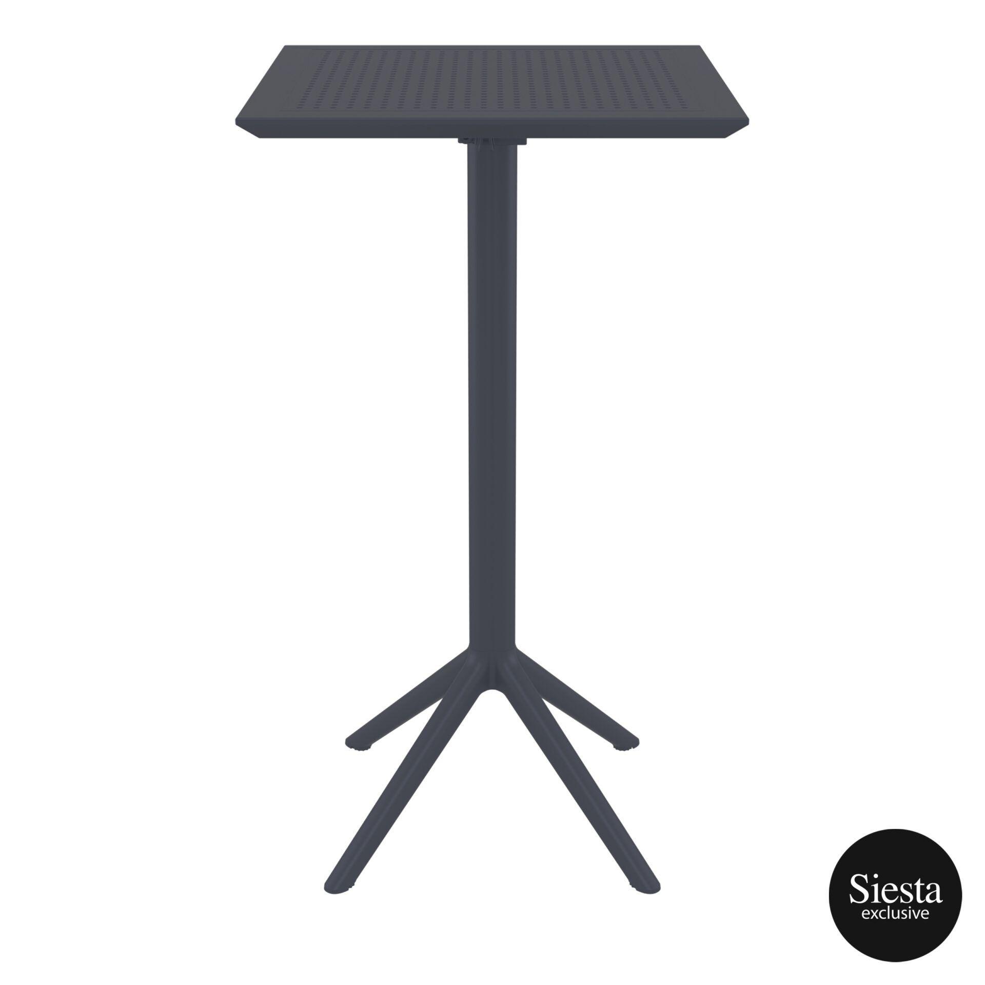 polypropylene outdoor sky folding bar table 60 darkgrey front